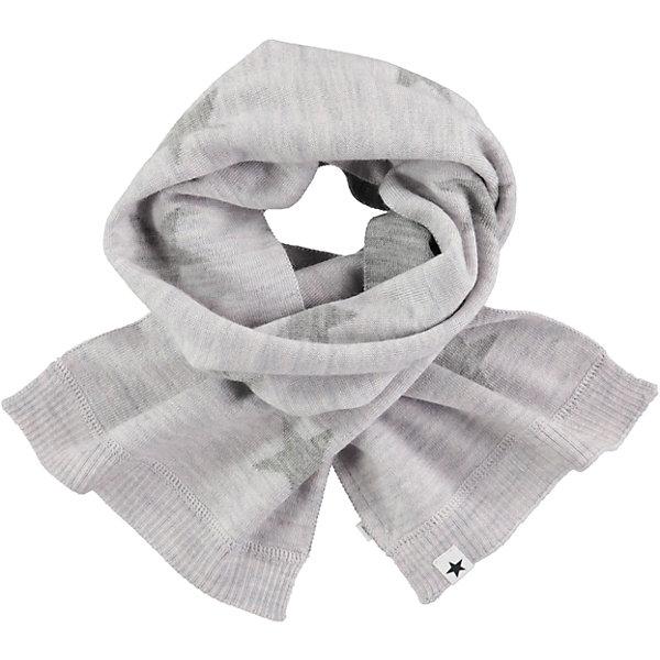 Шарф MOLOВерхняя одежда<br>Характеристики товара:<br><br>• цвет: серый<br>• состав ткани: 50% шерсть, 50% акрил<br>• сезон: зима<br>• температурный режим: от -15 до +5<br>• страна бренда: Дания<br>• страна изготовитель: Китай<br><br>Серый детский шарф декорирован фирменными звездами Molo. Шарф для ребенка поможет дополнить наряд и обеспечить защиту от холода. Этот теплый шарф создан с учетом потребностей детей. Простой в уходе шарф сделан из качественного материала. <br><br>Шарф Molo (Моло) можно купить в нашем интернет-магазине.<br><br>Ширина мм: 88<br>Глубина мм: 155<br>Высота мм: 26<br>Вес г: 106<br>Цвет: светло-серый<br>Возраст от месяцев: 60<br>Возраст до месяцев: 168<br>Пол: Унисекс<br>Возраст: Детский<br>Размер: one size<br>SKU: 6995337