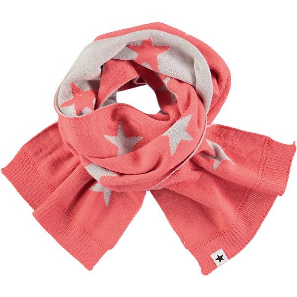 Шарф MOLO для девочкиШарфы, платки<br>Характеристики товара:<br><br>• цвет: розовый<br>• состав ткани: 50% шерсть, 50% акрил<br>• сезон: зима<br>• температурный режим: от -15 до +5<br>• страна бренда: Дания<br>• страна изготовитель: Китай<br><br>Двусторонний детский шарф имеет дополнительный флисовый слой. Теплый шарф для детей декорирован фирменными звездами Molo. Шарф для ребенка поможет дополнить наряд и обеспечить защиту от холода. Такой теплый шарф создан с учетом потребностей детей. <br><br>Шарф Molo (Моло) для девочки можно купить в нашем интернет-магазине.<br><br>Ширина мм: 88<br>Глубина мм: 155<br>Высота мм: 26<br>Вес г: 106<br>Цвет: розовый<br>Возраст от месяцев: 60<br>Возраст до месяцев: 168<br>Пол: Женский<br>Возраст: Детский<br>Размер: one size<br>SKU: 6995339