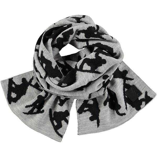 Шарф MOLO для мальчикаШарфы, платки<br>Характеристики товара:<br><br>• цвет: серый<br>• состав ткани: 50% шерсть, 50% акрил<br>• сезон: зима<br>• температурный режим: от -15 до +5<br>• страна бренда: Дания<br>• страна изготовитель: Китай<br><br>Этот двусторонний детский шарф имеет дополнительный флисовый слой. Такой теплый шарф для детей декорирован оригинальным принтом. Шарф для ребенка поможет дополнить наряд и обеспечить защиту от холода. Этот теплый шарф создан с учетом потребностей детей. <br><br>Шарф Molo (Моло) для девочки можно купить в нашем интернет-магазине.<br><br>Ширина мм: 88<br>Глубина мм: 155<br>Высота мм: 26<br>Вес г: 106<br>Цвет: белый<br>Возраст от месяцев: 60<br>Возраст до месяцев: 168<br>Пол: Женский<br>Возраст: Детский<br>Размер: one size<br>SKU: 6995345