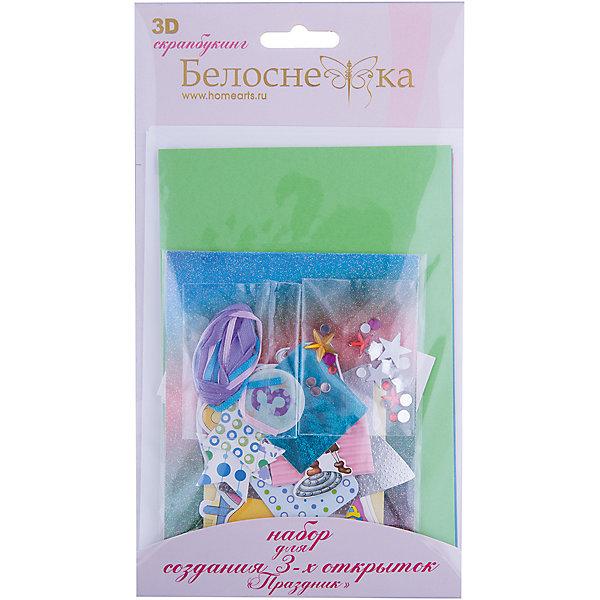 111-SB Набор для создания 3-х открыток ПраздникБумага<br>Характеристики товара:<br><br>• возраст: от 6 лет;<br>• упаковка: прозрачный пакет с хедером;<br>• размер упаковки: 24х15х1 см.;<br>• материал: плотный картон, бумага для скрапбукинга, пластик, текстиль;<br>• размер открытки: 11,5х17 см.;<br>• вес: 80 гр.;<br>• бренд: Белоснежка;<br>• страна бренда: Россия;<br>• страна производства: Китай.<br>                                                                                                                                                                                                                                                                                                                       Набор для создания 3-х открыток «Праздник» дополнен оригинальными карточками в стиле Шебби-Шик, необходимо только вырезать заготовки из макета и закрепить на открытке. Красивые элементы помогут сделать открытки более яркими и разнообразными. При их создании можно воспользоваться подсказками, расположенными на упаковке или придумать свою композицию.<br><br>Скрапбукинг стал популярным и модным увлечением во всём мире, которое помогает развививать у вас и вашего ребенка  мышление, моторику и фантазию, тренирует память, расширяет восприятие цветов и различных оттенков, пространственное мышление. Процесс создания открыток раскроет ваш  творческий потенциал,  а сама открытка будет неповторимым подарком для друзей и близких.          <br><br>Комплектация:<br><br>• 3 заготовки для открыток 11,5х17 см.;<br>• 3 конверта;<br>• 3 визитки-поздравления;<br>• клеевые подушечки;<br>• декоративные элементы: вырубка из картона, ленты, паетки, стразы, полубусины.       <br><br>Набор для создания 3-х открыток «Праздник», Белоснежка  можно купить в нашем интернет-магазине.<br>Ширина мм: 240; Глубина мм: 147; Высота мм: 5; Вес г: 80; Возраст от месяцев: 72; Возраст до месяцев: 2147483647; Пол: Унисекс; Возраст: Детский; SKU: 6997991;