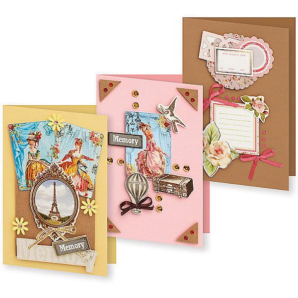 Набор для создания 3-х открыток Большое путешествие БелоснежкаБумага<br>Характеристики товара:<br><br>• возраст: от 6 лет;<br>• упаковка: прозрачный пакет с хедером;<br>• размер упаковки: 24х15х1 см..;<br>• материал: плотный картон, бумага для скрапбукинга, пластик, текстиль;<br>• размер открытки: 11,5х17 см.;<br>• вес: 80 гр.;<br>• бренд: Белоснежка;<br>• страна бренда: Россия;<br>• страна производства: Китай.<br>                                                                                                                                                                                                                                                                                                                       Набор для создания 3-х открыток «Большое путешествие» дополнен оригинальными карточками в стиле Шебби-Шик, необходимо только вырезать заготовки из макета и закрепить на открытке. Красивые элементы помогут сделать открытки более яркими и разнообразными. При их создании можно воспользоваться подсказками, расположенными на упаковке или придумать свою композицию.<br><br>Скрапбукинг стал популярным и модным увлечением во всём мире, которое помогает развививать у вас и вашего ребенка  мышление, моторику и фантазию, тренирует память, расширяет восприятие цветов и различных оттенков, пространственное мышление. Процесс создания открыток раскроет ваш  творческий потенциал,  а сама открытка будет неповторимым подарком для друзей и близких.          <br><br>Комплектация:<br><br>• 3 заготовки для открыток 11,5х17 см.;<br>• 3 конверта;<br>• 3 визитки-поздравления;<br>• клеевые подушечки;<br>• декоративные элементы: вырубка из картона, ленты, паетки, стразы, полубусины.       <br><br>Набор для создания 3-х открыток «Большое путешествие», Белоснежка  можно купить в нашем интернет-магазине.<br><br>Ширина мм: 240<br>Глубина мм: 147<br>Высота мм: 5<br>Вес г: 80<br>Возраст от месяцев: 72<br>Возраст до месяцев: 2147483647<br>Пол: Унисекс<br>Возраст: Детский<br>SKU: 699799