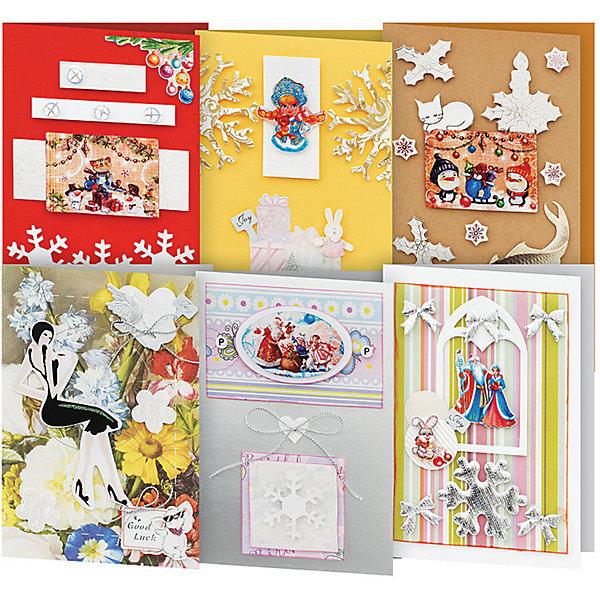 Набор для создания 6-ти открыток Снежинки БелоснежкаБумага<br>Характеристики товара:<br><br>• возраст: от 6 лет;<br>• упаковка: прозрачный пакет с хедером;<br>• размер упаковки: 27х15х6 см..;<br>• материал: плотный картон, бумага для скрапбукинга, пластик, текстиль;<br>• размер открытки: 11,5х17 см. и 11,5х21 см.;<br>• вес: 150 гр.;<br>• бренд: Белоснежка;<br>• страна бренда: Россия;<br>• страна производства: Китай.<br>                                                                                                                                                                                                                                                                                                                       Набор для создания 6-ти открыток «Снежинки» дополнен оригинальными карточками в стиле Шебби-Шик, необходимо только вырезать заготовки из макета и закрепить на открытке. Красивые элементы помогут сделать открытки более яркими и разнообразными. При их создании можно воспользоваться подсказками, расположенными на упаковке или придумать свою композицию.<br><br>Скрапбукинг стал популярным и модным увлечением во всём мире, которое помогает развививать у вас и вашего ребенка  мышление, моторику и фантазию, тренирует память, расширяет восприятие цветов и различных оттенков, пространственное мышление. Процесс создания открыток раскроет ваш  творческий потенциал,  а сама открытка будет неповторимым подарком для друзей и близких.          <br><br>Комплектация:<br><br>• 3 заготовки для открыток 11,5х17 см.;<br>• 3 заготовки для открыток 11,5х21 см.;<br>• 6 конвертов;<br>• клеевые подушечки;<br>• декоративные элементы: вырубка из картона, ленты, паетки, стразы, полубусины.       <br><br>Набор для создания 6-ти открыток «Снежинки», Белоснежка  можно купить в нашем интернет-магазине.<br><br>Ширина мм: 270<br>Глубина мм: 150<br>Высота мм: 60<br>Вес г: 150<br>Возраст от месяцев: 72<br>Возраст до месяцев: 2147483647<br>Пол: Унисекс<br>Возраст: Детский<br>SKU: 6997