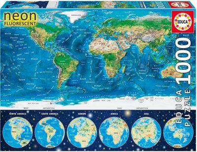 Пазл Неоновая карта мира , 1000 деталей, Educa