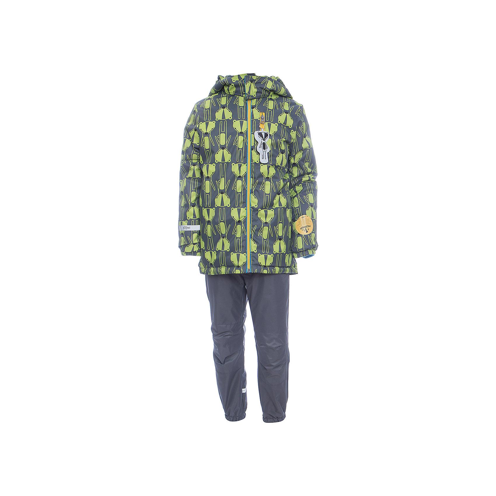 Комплект: куртка и брюки BOOM by Orby для мальчикаВерхняя одежда<br>Характеристики товара:<br><br>• цвет: серый<br>• ткань верха: Нейлон с мембранным покрытием 3000х3000<br>• подкладка: куртка - Поларфлис; ПЭ пуходержащий, брюки - Поларфлис<br>• утеплитель: куртка - Flexy Fiber 150 г/м2<br>• сезон: демисезон<br>• температурный режим: от +10°до -5°С<br>• особенности куртки: на молнии, со светоотражающими элементами<br>• особенности брюк: на резинке<br>• капюшон: без меха<br>• страна бренда: Россия<br>• страна изготовитель: Россия<br><br>Мембранный детский комплект - куртка и брюки - защитит ребенка от сырости в дождливую погоду и согреют в небольшой мороз. Удобный и модный комплект для мальчика позволит обеспечить ребенку комфорт в демисезон. <br><br>Комплект: куртка и брюки BOOM by Orby для мальчика можно купить в нашем интернет-магазине.<br><br>Ширина мм: 356<br>Глубина мм: 10<br>Высота мм: 245<br>Вес г: 519<br>Цвет: серый<br>Возраст от месяцев: 12<br>Возраст до месяцев: 18<br>Пол: Мужской<br>Возраст: Детский<br>Размер: 86,92,98,110,116,122,104<br>SKU: 7007358