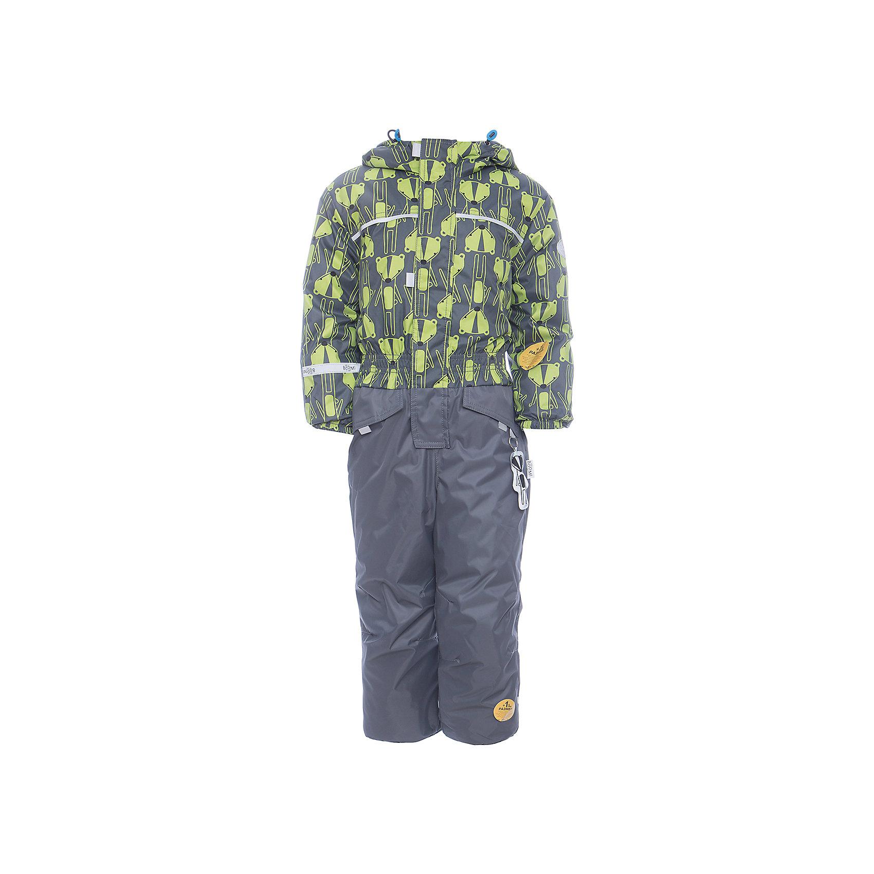Комбинезон BOOM by Orby для мальчикаВерхняя одежда<br>Характеристики товара:<br><br>• цвет: серый<br>• ткань верха: Нейлон с мембранным покрытием 3000х3000<br>• подкладка: Поларфлис; ПЭ пуходержащий<br>• утеплитель: FiberSoft 150 г/м2<br>• сезон: демисезон<br>• температурный режим: от 0°до +15°С<br>• особенности: на молнии, с ветрозащитным клапаном на липучке<br>• тип комбинезона: с принтом, эластичные резинки на талии, рукавах и штанинах<br>• капюшон: без меха, несъемный<br>• страна бренда: Россия<br>• страна изготовитель: Россия<br><br>Красивый принтованный комбинезон для мальчика - одна из самых модных моделей наступающего сезона. Благодаря красивому цвету, капюшону и большим карманам детский комбинезон стильно смотрится и хорошо сидит по фигуре. <br><br>Комбинезон BOOM by Orby для мальчика можно купить в нашем интернет-магазине.<br><br>Ширина мм: 356<br>Глубина мм: 10<br>Высота мм: 245<br>Вес г: 519<br>Цвет: серый<br>Возраст от месяцев: 12<br>Возраст до месяцев: 15<br>Пол: Мужской<br>Возраст: Детский<br>Размер: 80,116,110,98,86,92,104<br>SKU: 7007450
