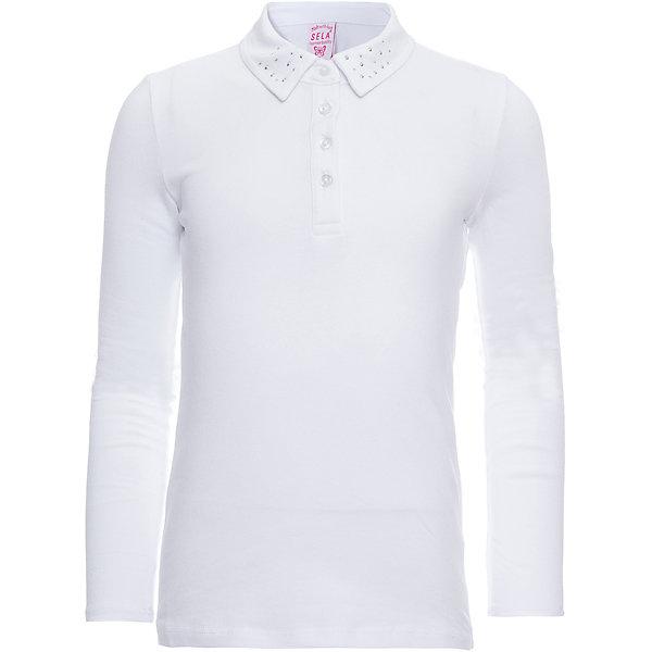 Блузка SELA для девочкиБлузки и рубашки<br>Характеристики товара:<br><br>• цвет: белый;<br>• состав: 95% хлопок, 5% эластан;<br>• сезон: круглый год;<br>• особенности: школьная;<br>• воротник декорирован стразами;<br>• силуэт: полуприлегающий;<br>• рукав: длинный;<br>• страна бренда: Россия;<br>• страна изготовитель: Китай.<br><br>Школьная блузка с длинным рукавом для девочки. Полуприлегающий силуэт, воротничок застегивается на четыре пуговицы. Выполнена в белом цвете, воротник украшен стразами.<br><br>Блузу Sela (Села) для девочки можно купить в нашем интернет-магазине.<br><br>Ширина мм: 186<br>Глубина мм: 87<br>Высота мм: 198<br>Вес г: 197<br>Цвет: белый<br>Возраст от месяцев: 72<br>Возраст до месяцев: 84<br>Пол: Женский<br>Возраст: Детский<br>Размер: 122,128,152,140<br>SKU: 7009437