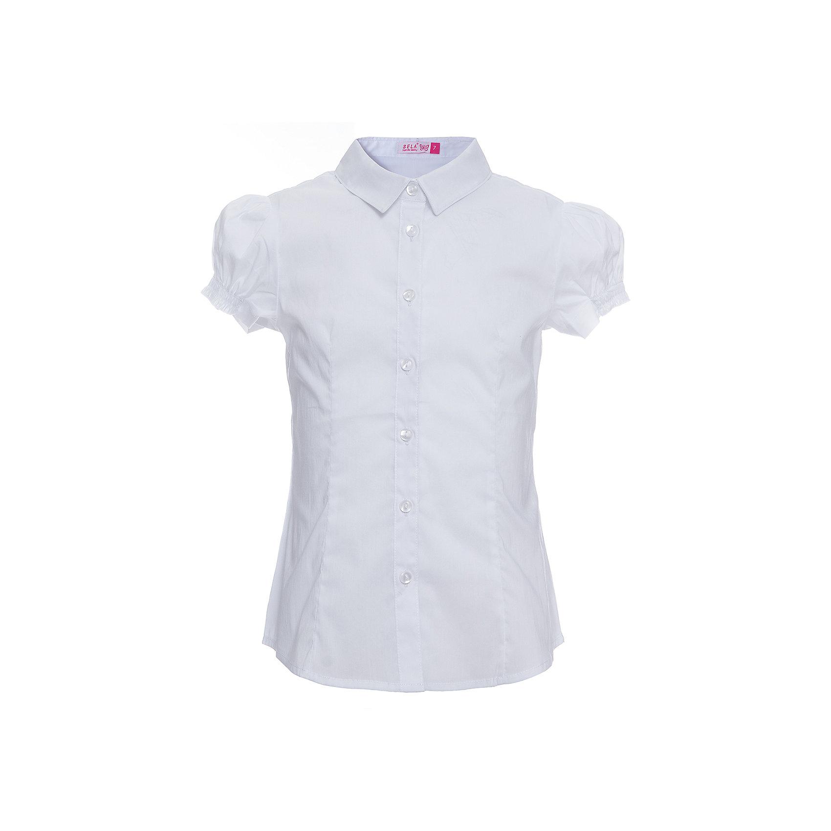 Блуза SELA для девочкиБлузки и рубашки<br>Характеристики товара:<br><br>• цвет: белый;<br>• состав: 56% хлопок, 41% нейлон, 3% эластан;<br>• сезон: демисезон;<br>• застежка: пуговицы;<br>• особенности: школьная;<br>• силуэт: А-силуэт;<br>• рукав: короткий;<br>• страна бренда: Россия;<br>• страна изготовитель: Китай.<br><br>Школьная блуза с коротким рукавом для девочки. Белая блузка застегивается на пуговицы. Манжеты рукавов на резинке.<br><br>Блузу Sela (Села) для девочки можно купить в нашем интернет-магазине.<br><br>Ширина мм: 186<br>Глубина мм: 87<br>Высота мм: 198<br>Вес г: 197<br>Цвет: белый<br>Возраст от месяцев: 120<br>Возраст до месяцев: 132<br>Пол: Женский<br>Возраст: Детский<br>Размер: 146,122,128,134,140,152<br>SKU: 7009470