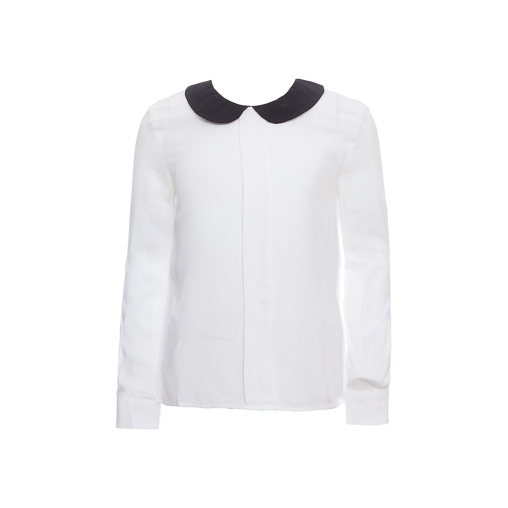Блузка SELA для девочкиБлузки и рубашки<br>Характеристики товара:<br><br>• цвет: молочный;<br>• состав: 100% вискоза;<br>• сезон: демисезон;<br>• особенности: школьная;<br>• свободный крой;<br>• застежка: пуговица<br>• манжеты на пуговице<br>• рукав: длинный;<br>• страна бренда: Россия;<br>• страна изготовитель: Китай.<br><br>Школьная блузка с длинным рукавом для девочки. Застегивается на пуговицу сзади для удобства надевания через голову, манжеты рукавов на одной пуговице. Модель выполнена в молочном цвете с контрастным темным воротником.<br><br>Блузку Sela (Села) для девочки можно купить в нашем интернет-магазине.<br><br>Ширина мм: 186<br>Глубина мм: 87<br>Высота мм: 198<br>Вес г: 197<br>Цвет: белый<br>Возраст от месяцев: 108<br>Возраст до месяцев: 120<br>Пол: Женский<br>Возраст: Детский<br>Размер: 140,146,128,134,152,122<br>SKU: 7009485
