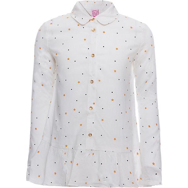 Блуза SELA для девочкиБлузки и рубашки<br>Характеристики товара:<br><br>• цвет: молочный;<br>• состав: 100% вискоза;<br>• сезон: демисезон;<br>• особенности: школьная, с рисунком, повседневная;<br>• застежка: пуговицы;<br>• рукав: длинный;<br>• страна бренда: Россия;<br>• страна изготовитель: Китай.<br><br>Блузка с длинным рукавом для девочки. Школьная блузка молочного цвета с мелким рисунком в виде звездочек и оборками на подоле. Застёгивается на пуговицы золотистого цвета, манжеты застегиваются на пуговицу.<br><br>Блузу Sela (Села) для девочки можно купить в нашем интернет-магазине.<br>Ширина мм: 186; Глубина мм: 87; Высота мм: 198; Вес г: 197; Цвет: белый; Возраст от месяцев: 72; Возраст до месяцев: 84; Пол: Женский; Возраст: Детский; Размер: 122,146,152,128,134,140; SKU: 7009507;