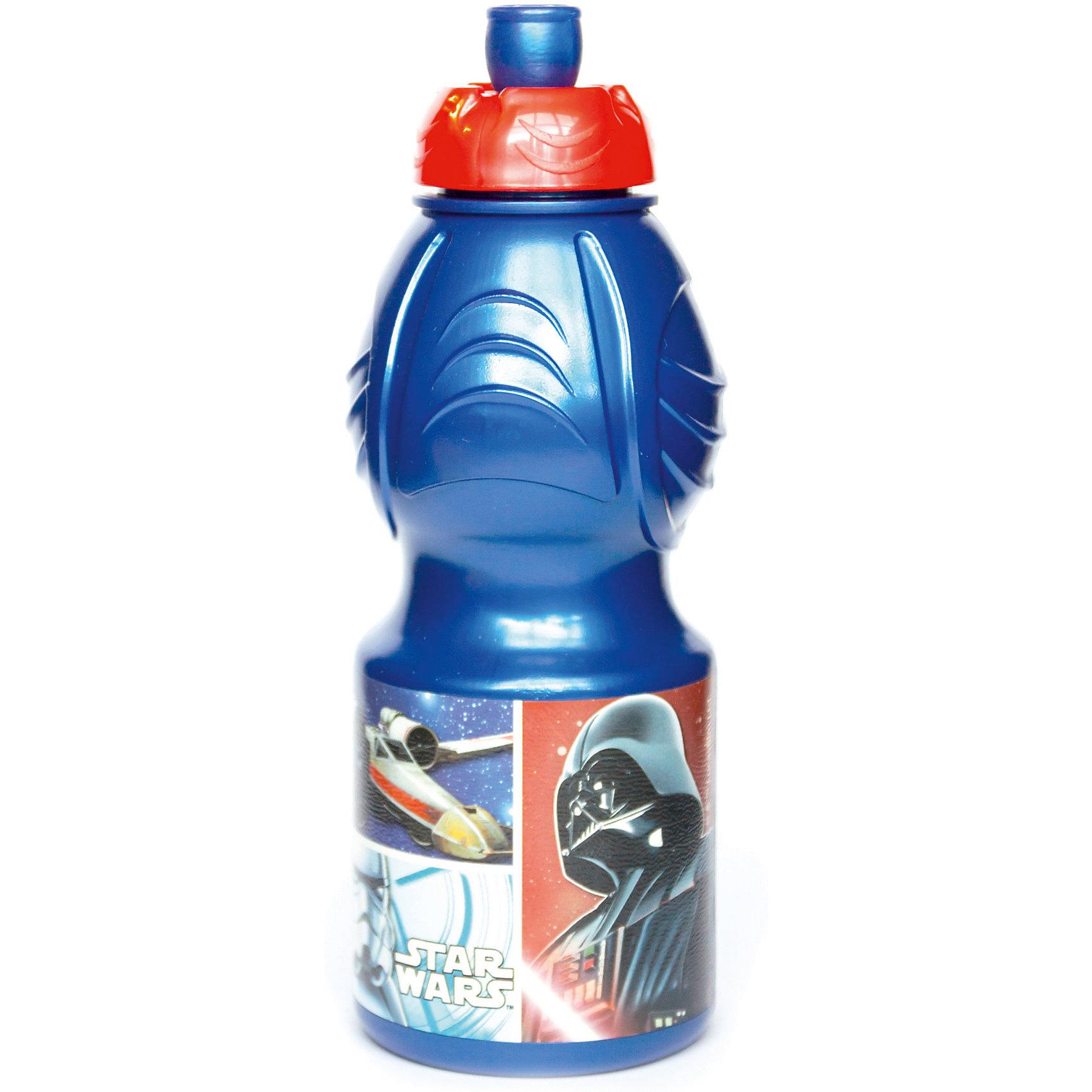 Бутылка пластиковая 400 мл., Звёздные войныБутылки для воды и бутербродницы<br>Спортивная бутылочка для холодных жидкостей из пищевого пластика с изображением любимого персонажа, объем 400 мл.<br><br>Ширина мм: 65<br>Глубина мм: 65<br>Высота мм: 180<br>Вес г: 52<br>Возраст от месяцев: 36<br>Возраст до месяцев: 2147483647<br>Пол: Унисекс<br>Возраст: Детский<br>SKU: 7010317