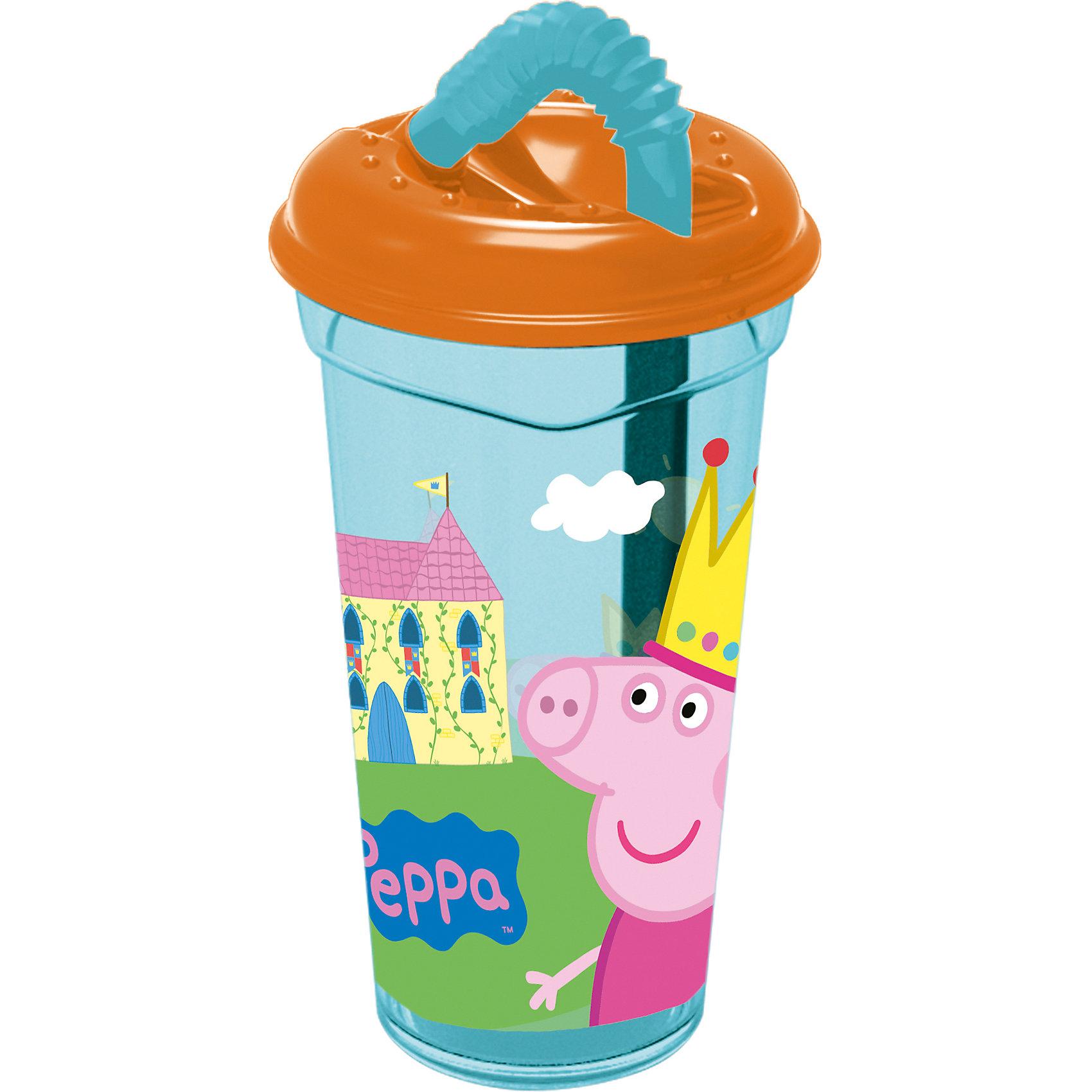 Стакан пластиковый с соломинкой и крышкой 400 мл., Свинка ПеппаСвинка Пеппа<br>Характеристики:<br><br>• возраст: от 3 лет;<br>• объем: 400 мл;<br>• дополнительные опции: крышка, соломинка;<br>• материал: пищевой пластик;<br>• размер: 8,7х8,7х17 см;<br>• вес: 80 г.<br>   <br>Красочный детский стакан с изображениями любимых телевизионных героев предназначен для детей от 3 лет. Яркую посуду можно использовать дома, брать с собой в дорогу или на пикник. <br><br>Стакан изготовлен из высококачественного пищевого пластика. Удобная крышка плотно закрывает стакан с жидкостью, а трубочка закреплена в отверстии. Стакан можно использовать для обучения детей самостоятельному приему пищи, он не бьется и безопасен для малышей.<br><br>Стакан пластиковый с соломинкой и крышкой 400 мл., Свинка Пеппа, Stor можно приобрести в нашем интернет-магазине.<br><br>Ширина мм: 87<br>Глубина мм: 87<br>Высота мм: 170<br>Вес г: 78<br>Возраст от месяцев: 36<br>Возраст до месяцев: 2147483647<br>Пол: Унисекс<br>Возраст: Детский<br>SKU: 7010350
