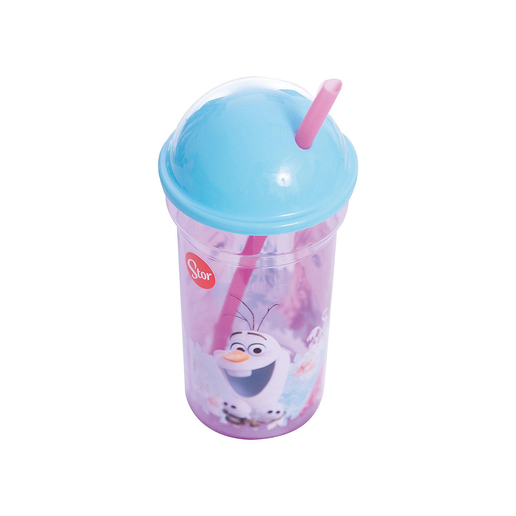 Стакан пластиковый с соломинкой и крышкой-полусферой 460 мл., Холодное сердце от myToys