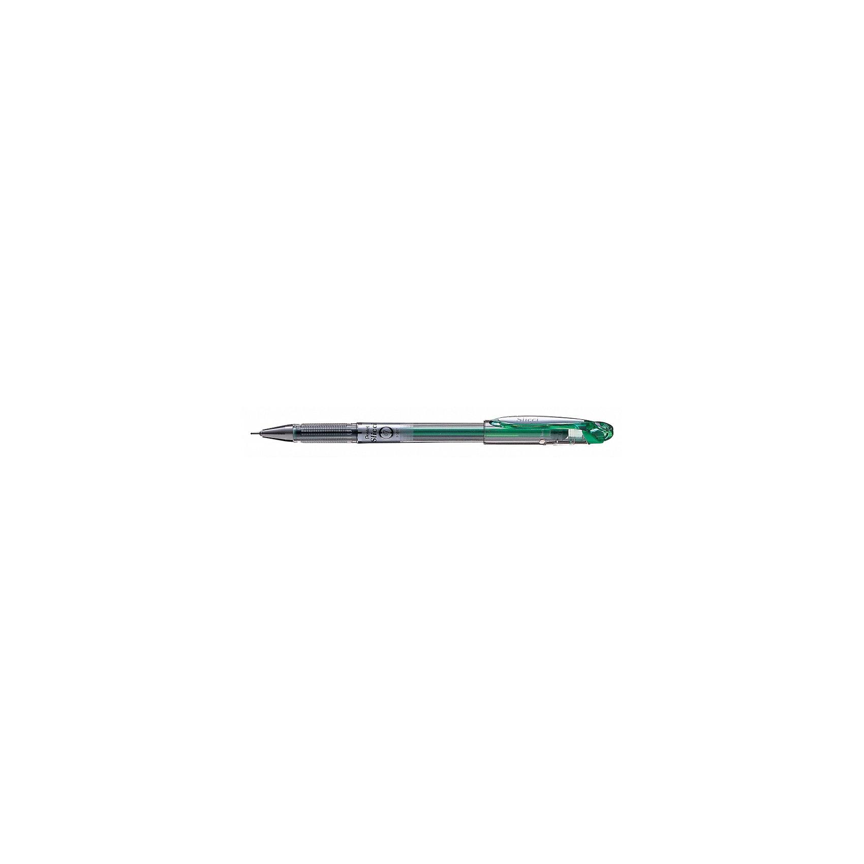 Ручка гелевая SLICCI, зеленая, игловидный пишущий узел PentelПисьменные принадлежности<br>Характеристики:<br><br>• возраст: от 6 лет<br>• толщина линии: 0,25 мм.<br>• диаметр шарика: 0,7 мм.<br>• длина ручки: 15 см.<br>• цвет чернил: зеленый<br>• материал корпуса: пластик<br><br>Гелевая ручка «Slicci» идеальна для офиса, школы и института, улучшает эстетику заметок, помогает выделить основные материалы. Эта ручка также подходит для декорирования и украшения открыток, приглашений и писем.<br><br>Ручка «Slicci» имеет игловидный пишущий узел с диаметром шарика 0,7 мм, при этом на бумаге остается тончайшая линия шириной всего 0,25 мм. Чернила не блекнут, не выцветают, не растекаются и быстро сохнут.<br><br>Простой и прозрачный корпус придает ручке «Slicci» элегантность, а металлическая зона захвата делает ее еще и очень удобной в применении.<br><br>Гелевая ручка «Slicci» экологически безопасна, изготовлена на 87% из переработанных материалов.<br><br>Ручку гелевую SLICCI, зеленую, игловидный пишущий узел Pentel (Пентел) можно купить в нашем интернет-магазине.<br><br>Ширина мм: 9999<br>Глубина мм: 9999<br>Высота мм: 150<br>Вес г: 6<br>Возраст от месяцев: 72<br>Возраст до месяцев: 2147483647<br>Пол: Унисекс<br>Возраст: Детский<br>SKU: 7010430