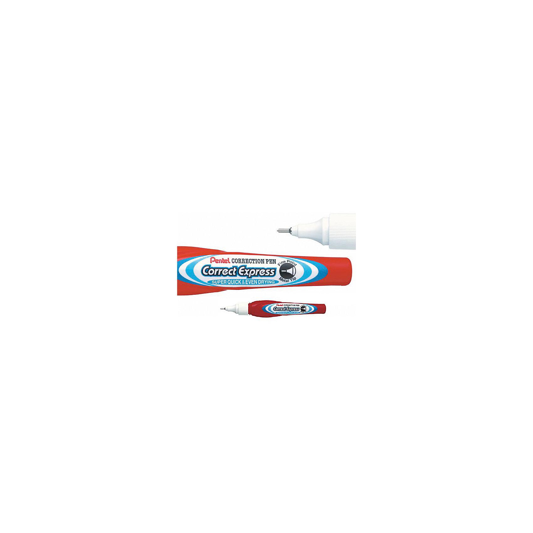 Корректор Correct Express, 7 мл, 1мм PentelШкольные аксессуары<br>Характеристики:<br><br>• возраст: от 6 лет<br>• площадь коррекции: 630 кв. см.<br>• толщина линии: 0,1 мм.<br>• объем: 7 мл.<br>• материал корпуса: пластик<br><br>Корректор в форме ручки «Correct Express» поможет аккуратно исправить ошибки и опечатки в тексте. <br><br>Корректор оснащен инновационным тонким, круглым наконечником обеспечивающим точность исправлений. Жидкость быстро сохнет, мягко ложится на бумагу, обеспечивая гладкое ровное покрытие.<br><br>Удобный колпачок с клипом предотвращает преждевременное высыхание жидкости. Корректор водоустойчив, без запаха, не токсичен.<br><br>Корректор Correct Express, 7 мл, 1мм Pentel (Пентел) можно купить в нашем интернет-магазине.<br><br>Ширина мм: 20<br>Глубина мм: 15<br>Высота мм: 130<br>Вес г: 25<br>Возраст от месяцев: 72<br>Возраст до месяцев: 2147483647<br>Пол: Унисекс<br>Возраст: Детский<br>SKU: 7010447