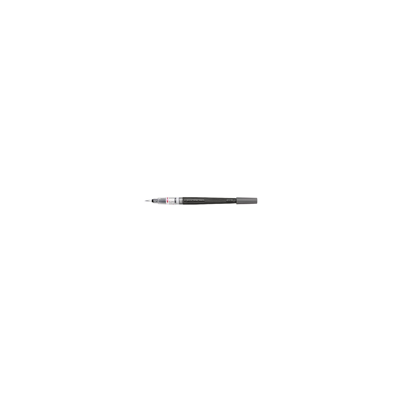 Кисть с краской Colour Brush в блистере,серый цвет PentelКраски и кисточки<br>Характеристики:<br><br>• возраст: от 6 лет<br>• цвет краски: серый<br>• объем резервуара с краской: 5 мл.<br>• длина кисти: 18 см.<br>• длина письма: 150 м.<br>• материал кисти: нейлон<br>• материал корпуса: пластик<br>• упаковка: блистер<br><br>Кисть «Color Brush» - это современный инструмент для рисования в технике акварели. Кисть уже полностью готова к использованию и вам не понадобится дополнительных приспособлений. Снимите колпачок, надавите на корпус и начинайте творить.<br><br>Уникальная система подачи чернил на кисть по спирали делает кисть еще и экономичной моделью. Кисть изготовлена из высококачественного нейлона, что позволяет рисовать как очень тонкие линии от 1 мм, так и создавать широкие мазки до 10 мм, что часто необходимо для закрашивания больших поверхностей.<br><br>Краска на водной основе имеет яркий и насыщенный цвет, хорошо ложится на бумагу и быстро сохнет. При добавлении воды цвет становится намного нежнее и появляется мягкость и тонкость переходов цвета. <br><br>Резервуар кисти герметично прилегает к наконечнику, а защитный колпачок позволяет брать кисть с собой куда угодно, положив в сумку или в карман.<br><br>Кисть «Color Brush» является многоразовой - просто поменяйте пустой резервуар на новый сменный картридж.<br><br>Кисть с краской Colour Brush в блистере,серый цвет Pentel (Пентел) можно купить в нашем интернет-магазине.<br><br>Ширина мм: 10<br>Глубина мм: 10<br>Высота мм: 220<br>Вес г: 11<br>Возраст от месяцев: 72<br>Возраст до месяцев: 2147483647<br>Пол: Унисекс<br>Возраст: Детский<br>SKU: 7010458