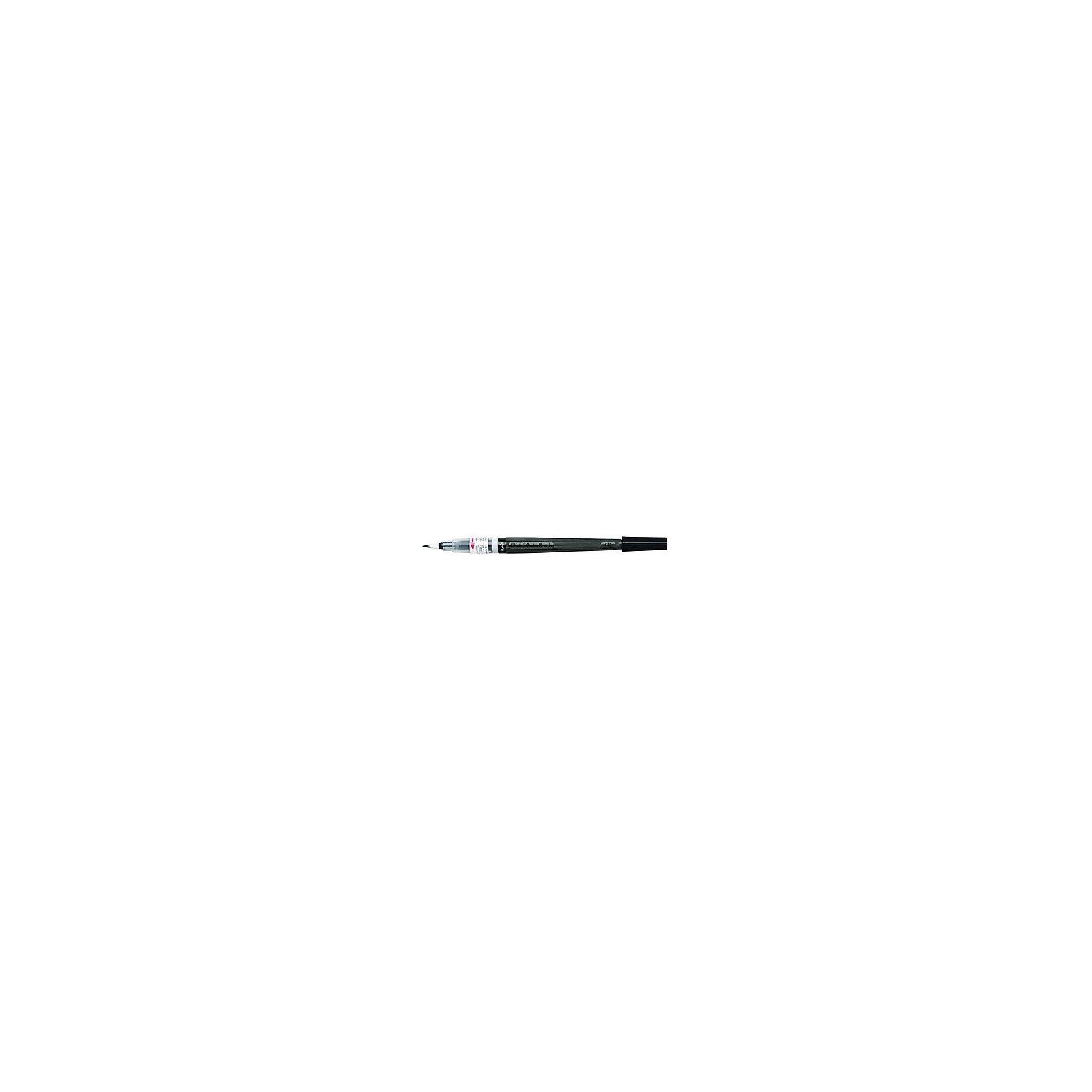 Кисть с краской Colour Brush в блистере,черный цвет PentelКраски и кисточки<br>Характеристики:<br><br>• возраст: от 6 лет<br>• цвет краски: черный<br>• объем резервуара с краской: 5 мл.<br>• длина кисти: 18 см.<br>• длина письма: 150 м.<br>• материал кисти: нейлон<br>• материал корпуса: пластик<br>• упаковка: блистер<br><br>Кисть «Color Brush» - это современный инструмент для рисования в технике акварели. Кисть уже полностью готова к использованию и вам не понадобится дополнительных приспособлений. Снимите колпачок, надавите на корпус и начинайте творить.<br><br>Уникальная система подачи чернил на кисть по спирали делает кисть еще и экономичной моделью. Кисть изготовлена из высококачественного нейлона, что позволяет рисовать как очень тонкие линии от 1 мм, так и создавать широкие мазки до 10 мм, что часто необходимо для закрашивания больших поверхностей.<br><br>Краска на водной основе имеет яркий и насыщенный цвет, хорошо ложится на бумагу и быстро сохнет. При добавлении воды цвет становится намного нежнее и появляется мягкость и тонкость переходов цвета. <br><br>Резервуар кисти герметично прилегает к наконечнику, а защитный колпачок позволяет брать кисть с собой куда угодно, положив в сумку или в карман.<br><br>Кисть «Color Brush» является многоразовой - просто поменяйте пустой резервуар на новый сменный картридж.<br><br>Кисть с краской Colour Brush в блистере,черный цвет Pentel (Пентел) можно купить в нашем интернет-магазине.<br><br>Ширина мм: 10<br>Глубина мм: 10<br>Высота мм: 220<br>Вес г: 11<br>Возраст от месяцев: 72<br>Возраст до месяцев: 2147483647<br>Пол: Унисекс<br>Возраст: Детский<br>SKU: 7010459