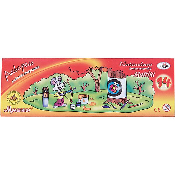Акварель медовая МУЛЬТИКИ, 14 цветов ГаммаРисование и лепка<br>Характеристики:<br><br>• возраст: от 3 лет<br>• в наборе: краски акварельные медовые полусухие без кисточки<br>• количество цветов: 14<br>• упаковка: пластмассовый пенал без крышки и цветная картонная коробка<br>• размер упаковки: 21,4х7,3х1,1 см.<br>• вес: 114 гр.<br><br>Акварельные медовые краски «Мультики» идеально подойдут для детского и художественного изобразительного искусства. Яркие, насыщенные цвета красок отлично смешиваются между собой.<br><br>Краски безопасны для детей, не токсичны, быстро высыхают и не портятся со временем.<br><br>Акварель медовую МУЛЬТИКИ, 14 цветов Гамма можно купить в нашем интернет-магазине.<br>Ширина мм: 220; Глубина мм: 80; Высота мм: 10; Вес г: 105; Возраст от месяцев: 36; Возраст до месяцев: 2147483647; Пол: Унисекс; Возраст: Детский; SKU: 7010470;