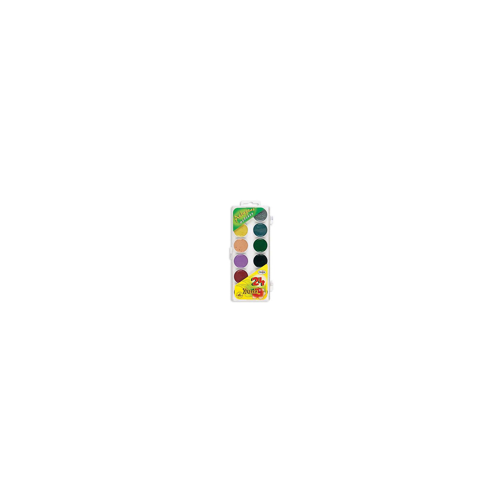 Акварель медовая ПЧЕЛКА 24 цветов ГаммаРисование и лепка<br>Характеристики:<br><br>• возраст: от 3 лет<br>• в наборе: краски акварельные медовые полусухие без кисточки<br>• количество цветов: 24<br>• упаковка: пластмассовый пенал с прозрачной крышкой<br>• размер упаковки: 20,3х8,7х1,6 см.<br>• вес: 150 гр.<br><br>Акварельные медовые краски «Пчелка» идеально подойдут для детского и художественного изобразительного искусства. Яркие, насыщенные цвета красок отлично смешиваются между собой.<br><br>Краски безопасны для детей, не токсичны, быстро высыхают и не портятся со временем.<br><br>Акварель медовую ПЧЕЛКА 24 цветов Гамма можно купить в нашем интернет-магазине.<br><br>Ширина мм: 225<br>Глубина мм: 90<br>Высота мм: 20<br>Вес г: 170<br>Возраст от месяцев: 36<br>Возраст до месяцев: 2147483647<br>Пол: Унисекс<br>Возраст: Детский<br>SKU: 7010472