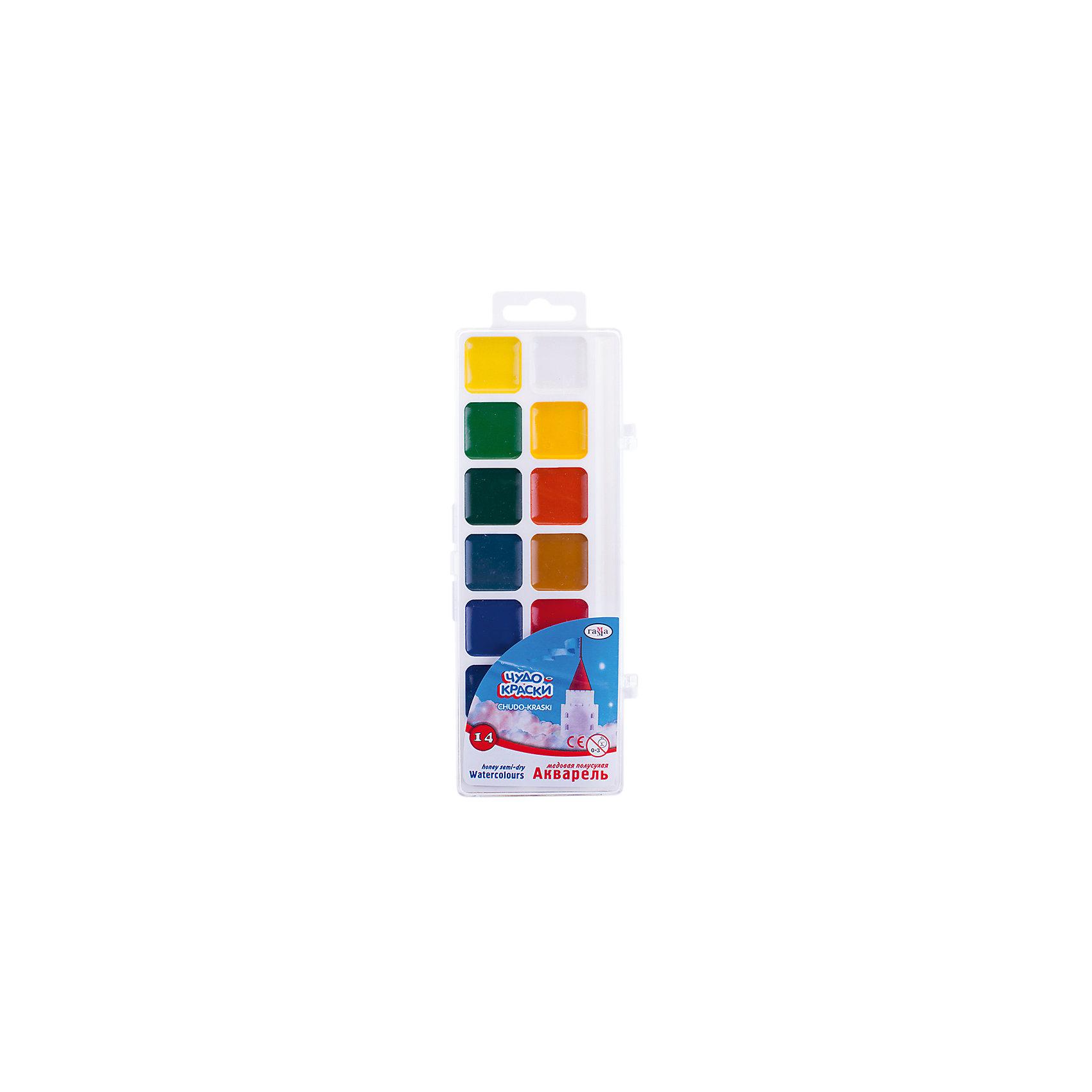 Акварель медовая ЧУДО-КРАСКИ 14 цветов ГаммаРисование и лепка<br>Характеристики:<br><br>• возраст: от 3 лет<br>• в наборе: краски акварельные медовые без кисточки<br>• количество цветов: 14<br>• объем краски одного цвета в кювете: 2,8 куб. см.<br>• упаковка: пластмассовая коробка с прозрачной крышкой<br>• размер упаковки: 21х7,7х1,3 см.<br>• вес: 94 гр.<br><br>Акварельные медовые краски «Чудо-краски» прекрасно подойдут для детского и художественного изобразительного творчества и будет способствовать развитию мелкой моторики, творческих способностей и сенсомоторной координации ребенка.<br><br>Краски созданы на водной основе, имеют яркие насыщенные цвета. Легко смываются с рук и одежды, безвредны.<br><br>Акварель медовую ЧУДО-КРАСКИ 14 цветов Гамма можно купить в нашем интернет-магазине.<br><br>Ширина мм: 210<br>Глубина мм: 80<br>Высота мм: 12<br>Вес г: 100<br>Возраст от месяцев: 36<br>Возраст до месяцев: 2147483647<br>Пол: Унисекс<br>Возраст: Детский<br>SKU: 7010474
