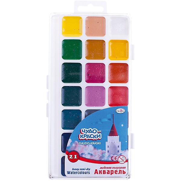 Акварель медовая ЧУДО-КРАСКИ 21 цветов ГаммаРисование и лепка<br>Характеристики:<br><br>• возраст: от 3 лет<br>• в наборе: краски акварельные медовые без кисточки<br>• количество цветов: 21<br>• упаковка: пластмассовая коробка с прозрачной крышкой<br>• размер упаковки: 21х10х1,2 см.<br>• вес: 144 гр.<br><br>Акварельные медовые краски «Чудо-краски» прекрасно подойдут для детского и художественного изобразительного творчества и будет способствовать развитию мелкой моторики, творческих способностей и сенсомоторной координации ребенка.<br><br>Краски созданы на водной основе, имеют яркие насыщенные цвета. Легко смываются с рук и одежды, безвредны.<br><br>Акварель медовую ЧУДО-КРАСКИ 21 цветов Гамма можно купить в нашем интернет-магазине.<br>Ширина мм: 210; Глубина мм: 120; Высота мм: 12; Вес г: 130; Возраст от месяцев: 36; Возраст до месяцев: 2147483647; Пол: Унисекс; Возраст: Детский; SKU: 7010475;