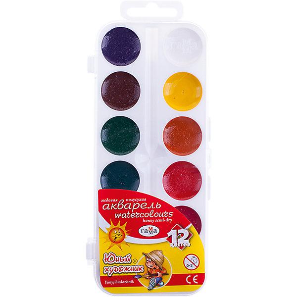 Акварель медовая ЮНЫЙ ХУДОЖНИК  12 цветов ГаммаРисование и лепка<br>Характеристики:<br><br>• возраст: от 3 лет<br>• в наборе: краски акварельные медовые без кисточки<br>• количество цветов: 12<br>• объем краски одного цвета в кювете: 2,8 куб. см.<br>• упаковка: пластмассовая коробка с прозрачной крышкой<br>• размер упаковки: 7,5х18х1,3 см.<br>• вес: 70 гр.<br><br>Акварельные медовые краски «Юный художник» идеально подойдут для детского и художественного изобразительного искусства. Яркие, насыщенные цвета красок отлично смешиваются между собой.<br><br>Краски безопасны для детей, не токсичны, быстро высыхают и не портятся со временем.<br><br>Акварель медовую ЮНЫЙ ХУДОЖНИК 12 цветов Гамма можно купить в нашем интернет-магазине.<br>Ширина мм: 180; Глубина мм: 80; Высота мм: 10; Вес г: 75; Возраст от месяцев: 36; Возраст до месяцев: 2147483647; Пол: Унисекс; Возраст: Детский; SKU: 7010476;