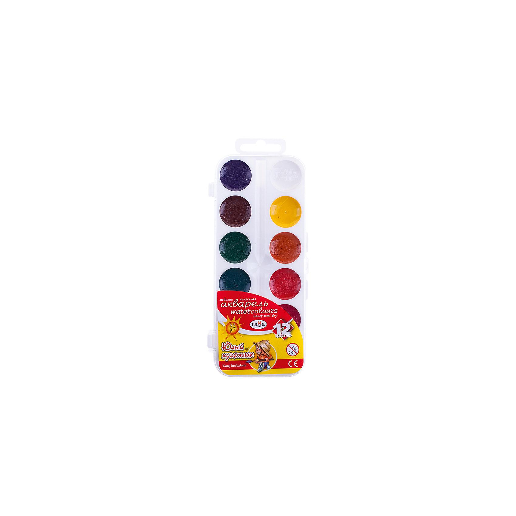 Акварель медовая ЮНЫЙ ХУДОЖНИК  12 цветов ГаммаРисование и лепка<br>Характеристики:<br><br>• возраст: от 3 лет<br>• в наборе: краски акварельные медовые без кисточки<br>• количество цветов: 12<br>• объем краски одного цвета в кювете: 2,8 куб. см.<br>• упаковка: пластмассовая коробка с прозрачной крышкой<br>• размер упаковки: 7,5х18х1,3 см.<br>• вес: 70 гр.<br><br>Акварельные медовые краски «Юный художник» идеально подойдут для детского и художественного изобразительного искусства. Яркие, насыщенные цвета красок отлично смешиваются между собой.<br><br>Краски безопасны для детей, не токсичны, быстро высыхают и не портятся со временем.<br><br>Акварель медовую ЮНЫЙ ХУДОЖНИК 12 цветов Гамма можно купить в нашем интернет-магазине.<br><br>Ширина мм: 180<br>Глубина мм: 80<br>Высота мм: 10<br>Вес г: 75<br>Возраст от месяцев: 36<br>Возраст до месяцев: 2147483647<br>Пол: Унисекс<br>Возраст: Детский<br>SKU: 7010476