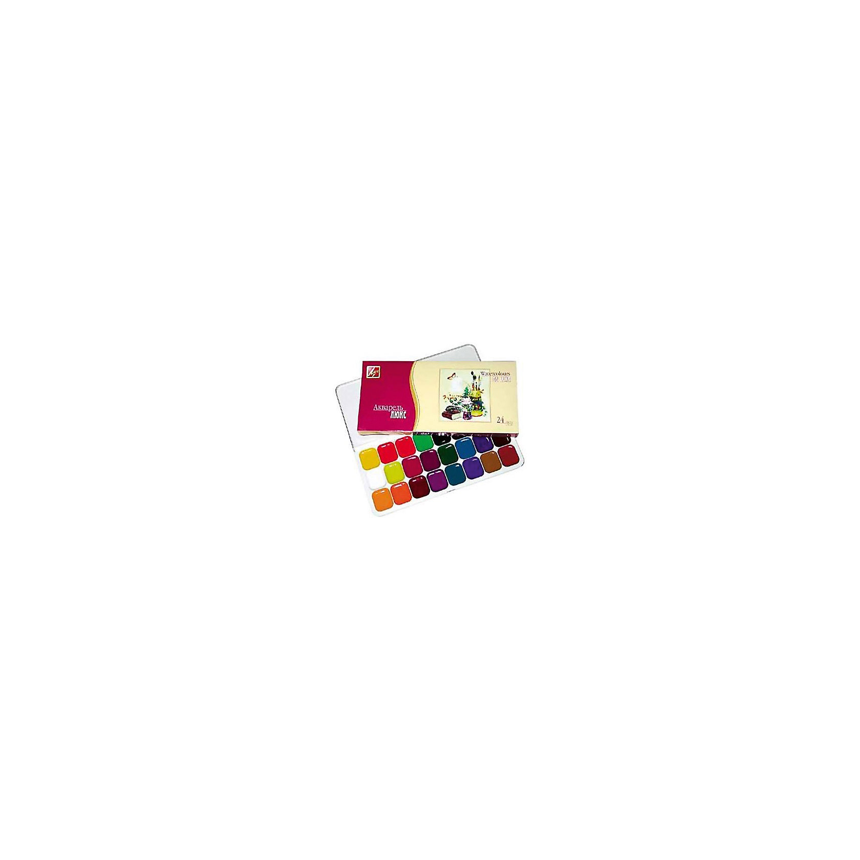 Акварель медовая ЛЮКС 24 цветов ЛучРисование и лепка<br>Характеристики:<br><br>• возраст: от 3 лет<br>• в наборе: краски акварельные медовые полусухие без кисточки<br>• количество цветов: 24<br>• упаковка: пластмассовый пенал с прозрачной крышкой, помещенный в цветную картонную коробку<br>• размер упаковки: 10,8х22,2х1,8 см.<br>• вес: 218 гр.<br><br>Акварель медовая «Люкс» открывает большие возможности для самореализации на этапе обучения и профессионального становления юного художника. Акварель разработана с учётом рекомендаций художников и педагогов, предназначена как для любителей, так и для профессионалов.<br><br>Краски акварельные медовые полусухие «Люкс» изготовлены на основе растительного клея-гуммиарабика и максимально насыщены пигментами высокого класса, что обеспечивает им необыкновенную прозрачность, повышенную чистоту цвета и интенсивность тона.<br><br>Акварель «Люкс» имеет богатую цветовую палитру. Все цвета прекрасно смешиваются друг с другом. Акварелью можно работать в несколько перекрытий.<br><br>Краски безопасны при использовании по назначению.<br><br>Акварель медовую ЛЮКС 24 цветов Луч можно купить в нашем интернет-магазине.<br><br>Ширина мм: 230<br>Глубина мм: 120<br>Высота мм: 20<br>Вес г: 215<br>Возраст от месяцев: 60<br>Возраст до месяцев: 2147483647<br>Пол: Унисекс<br>Возраст: Детский<br>SKU: 7010477