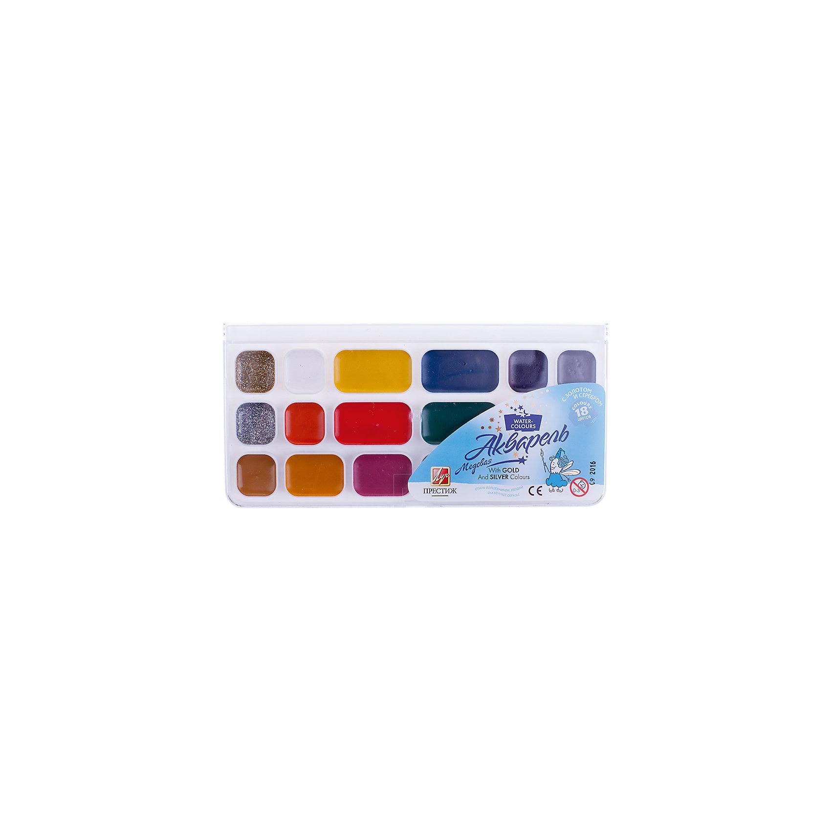 Акварель медовая ПРЕСТИЖ 18 цветов с золотом и серебром ЛучРисование и лепка<br>Характеристики:<br><br>• возраст: от 3 лет<br>• в наборе: краски акварельные медовые полусухие; краски с эффектами блеска, золота и серебра<br>• количество цветов: 18<br>• упаковка: пластмассовый пенал с прозрачной крышкой<br>• размер упаковки: 10,5х21,6х1,4 см.<br>• вес: 166 гр.<br><br>Акварель медовая «Престиж» предназначена для живописных и декоративных работ. В наборе классические краски для творчества дополнены красками с необыкновенными эффектами блеска, золота и серебра.<br><br>Набор выпускается в удобной пластмассовой упаковке с прозрачной крышкой, содержит увеличенные кюветы с часто используемыми цветами. Без кисточки.<br><br>Краски изготовлены на основе органических пигментов и натурального связующего с добавлением пчелиного мёда. Безопасны при использовании по назначению.<br><br>Акварель медовую ПРЕСТИЖ 18 цветов с золотом и серебром Луч можно купить в нашем интернет-магазине.<br><br>Ширина мм: 220<br>Глубина мм: 110<br>Высота мм: 15<br>Вес г: 165<br>Возраст от месяцев: 36<br>Возраст до месяцев: 2147483647<br>Пол: Унисекс<br>Возраст: Детский<br>SKU: 7010478