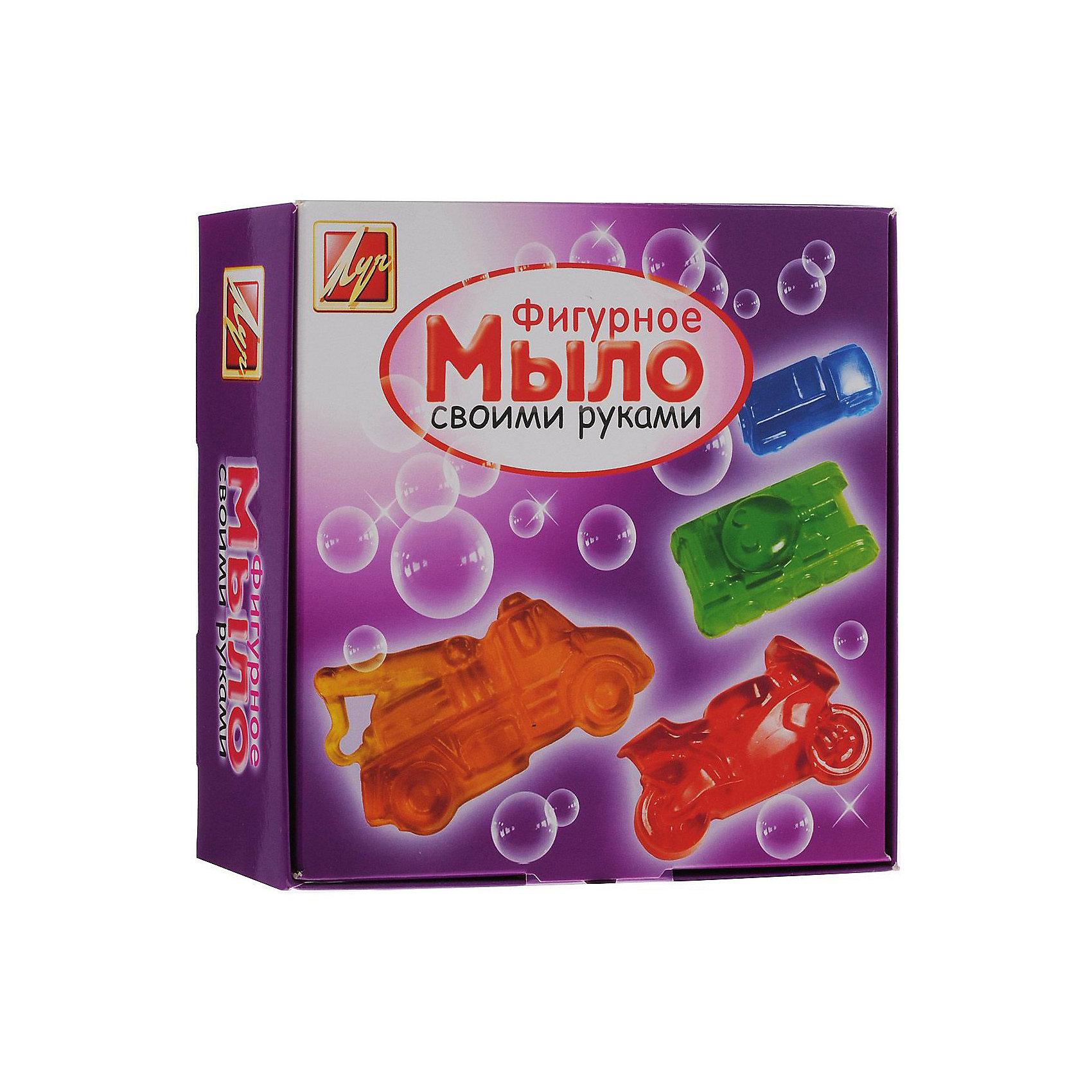 Набор для изготовления мыла Машины ЛучНаборы для создания мыла<br>Характеристики:<br><br>• возраст: от 7 лет<br>• в наборе: мыльная основа (прозрачная, белая) 200 гр; красители пищевые 3 шт по 5 мл (желтый, красный, синий); форма для мыла в виде мотоцикла (9х5,5х1,5 см); форма для мыла в виде танка (8,5х5,3х1,5 см); форма для мыла в виде пожарной машины (10х5,5х2 см); форма для мыла в виде легкового автомобиля (8,5х4,5х2 см); пластиковый стакан; стек; инструкция на русском языке.<br>• упаковка: картонная коробка<br>• размер упаковки: 18х18х8 см.<br>• вес: 355 гр.<br><br>Набор для изготовления мыла «Машины» поможет быстро и легко освоить мыловарение и самостоятельно создать оригинальное мыло четырех разных форм. Готовое изделие станет прекрасным подарком близким и друзьям.<br><br>Набор для изготовления мыла Машины Луч можно купить в нашем интернет-магазине.<br><br>Ширина мм: 180<br>Глубина мм: 180<br>Высота мм: 80<br>Вес г: 360<br>Возраст от месяцев: 84<br>Возраст до месяцев: 2147483647<br>Пол: Унисекс<br>Возраст: Детский<br>SKU: 7010494