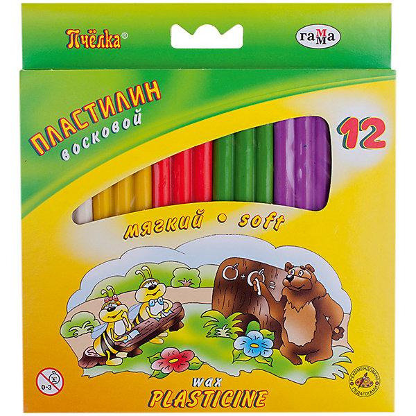 Пластилин восковой ПЧЕЛКА, 12 цветов со стеком ГаммаРисование и лепка<br>Характеристики:<br><br>• возраст: от 3 лет<br>• в наборе: 12 цветов (брусков) воскового пластилина, стек<br>• цвета: белый; оранжевый; красный; светло-зеленый; сиреневый; коричневый; серый; желтый; розовый; зеленый; голубой; черный.<br>• общая масса пластилина: 147 гр.<br>• размер бруска пластилина: 2,5х7х0,8 см.<br>• упаковка: картонная коробка с подвесом<br>• размер упаковки: 17,3х16,8х1,5 см.<br>• вес: 176 гр.<br><br>Восковой пластилин «Пчелка» предназначен для лепки и моделирования.<br><br>Пластилин изготовлен на основе природного воска, высококачественных пигментов и натуральных наполнителей, обладает отличными пластичными свойствами, хорошо размягчается, не липнет к рукам и идеально держит форму. Нетоксичен.<br><br>Работа с пластилином поможет малышу развить творческие способности, воображение и мелкую моторику рук. С помощью стека, прилагающегося к набору, ребенок может наносить орнамент на свои изделия, что оказывает позитивное воздействие на творческое мышление.<br><br>Пластилин восковой ПЧЕЛКА, 12 цветов со стеком Гамма можно купить в нашем интернет-магазине.<br>Ширина мм: 170; Глубина мм: 170; Высота мм: 20; Вес г: 190; Возраст от месяцев: 36; Возраст до месяцев: 2147483647; Пол: Унисекс; Возраст: Детский; SKU: 7010499;