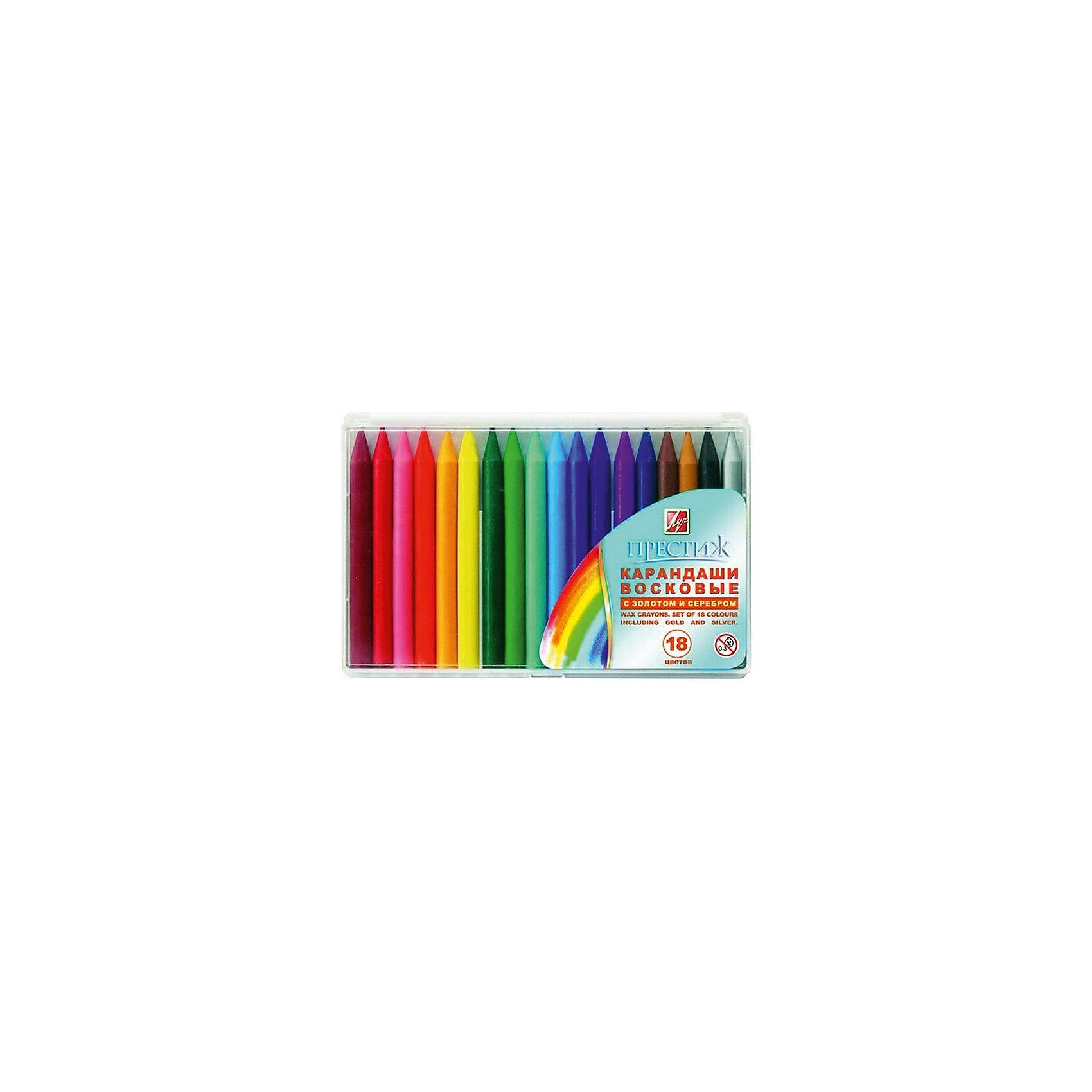 Карандаши восковые 18 цветов круглые 8*90 мм ЛучМасляные и восковые мелки<br>Характеристики:<br><br>• возраст: от 3 лет<br>• в наборе: 18 карандашей (16 разноцветных восковых карандашей; восковой карандаш с эффектом «металлик золотой», восковой карандаш с эффектом «металлик серебряный»)<br>• размер одного карандаша: 9х0,8 см.<br>• пластмассовая упаковка<br>• размер упаковки: 10х15,4х1,2 см.<br>• вес: 124 гр.<br><br>Круглые восковые карандаши «Престиж» изготовлены на основе полимерных восков и предназначены для рисования по бумаге и картону.<br><br>Карандаши имеют яркие, сочные цвета. Для придания работам специальных декоративных эффектов в набор включены карандаши с эффектом «металлик золотой» и «металлик серебряный».<br><br>Карандаши восковые 18 цветов круглые 8*90 мм Луч можно купить в нашем интернет-магазине.<br><br>Ширина мм: 145<br>Глубина мм: 90<br>Высота мм: 10<br>Вес г: 125<br>Возраст от месяцев: 36<br>Возраст до месяцев: 2147483647<br>Пол: Унисекс<br>Возраст: Детский<br>SKU: 7010515
