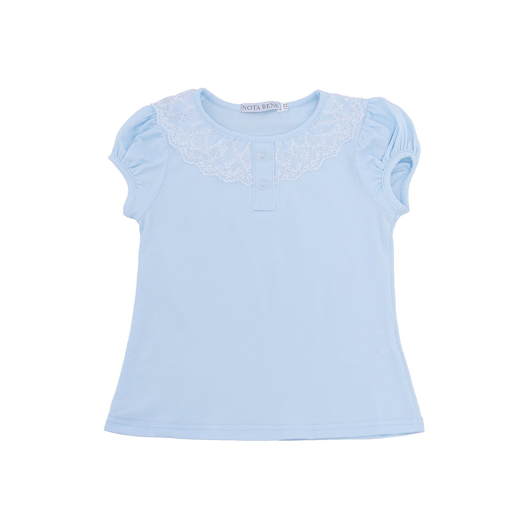 Блузка Nota Bene для девочкиБлузки и рубашки<br>Блузка с короткими рукавами с кружевной отделкой<br>Соответствует размеру<br>Рекомендована предварительная стирка<br>Состав:<br>92% хлопок; 8% лайкра<br><br>Ширина мм: 186<br>Глубина мм: 87<br>Высота мм: 198<br>Вес г: 197<br>Цвет: голубой<br>Возраст от месяцев: 72<br>Возраст до месяцев: 84<br>Пол: Женский<br>Возраст: Детский<br>Размер: 122,158,164,128,134,140,146,152<br>SKU: 7011954