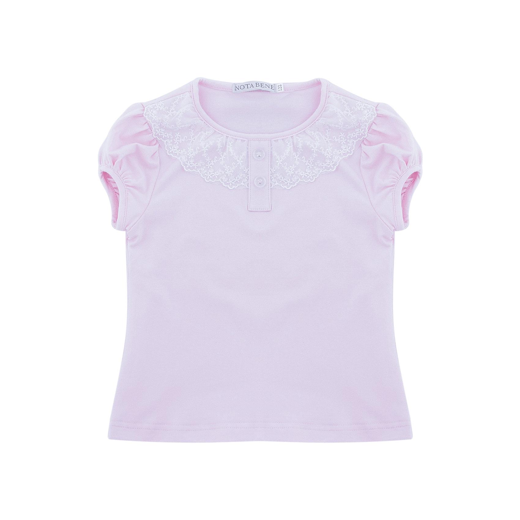 Блузка Nota Bene для девочкиБлузки и рубашки<br>Блузка с короткими рукавами с кружевной отделкой<br>Соответствует размеру<br>Рекомендована предварительная стирка<br>Состав:<br>92% хлопок; 8% лайкра<br><br>Ширина мм: 186<br>Глубина мм: 87<br>Высота мм: 198<br>Вес г: 197<br>Цвет: розовый<br>Возраст от месяцев: 72<br>Возраст до месяцев: 84<br>Пол: Женский<br>Возраст: Детский<br>Размер: 122,164,128,134,140,146,152,158<br>SKU: 7011964