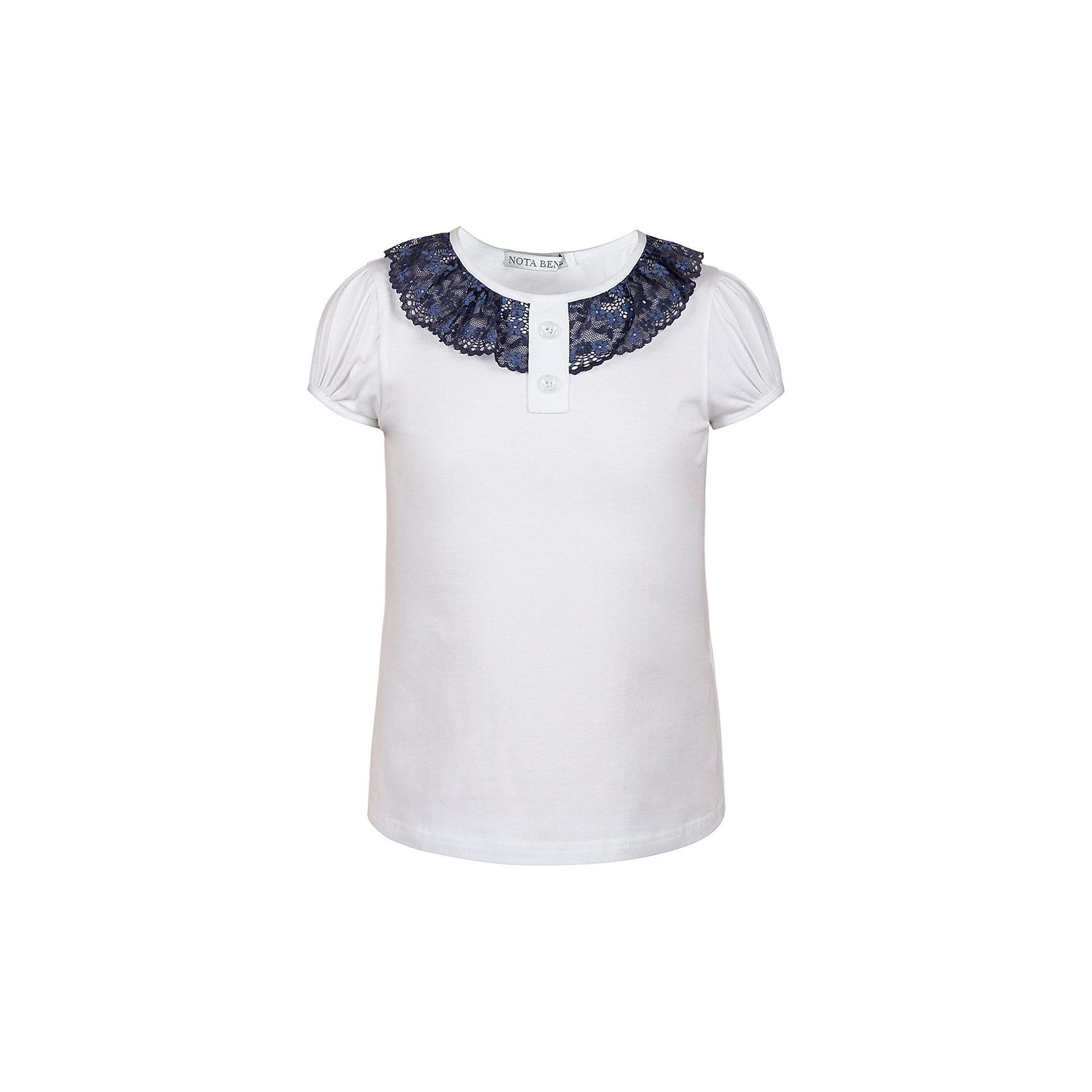 Блузка Nota Bene для девочкиБлузки и рубашки<br>Блузка с короткими рукавами с кружевной отделкой<br>Соответствует размеру<br>Рекомендована предварительная стирка<br>Состав:<br>92% хлопок; 8% лайкра<br><br>Ширина мм: 186<br>Глубина мм: 87<br>Высота мм: 198<br>Вес г: 197<br>Цвет: белый<br>Возраст от месяцев: 156<br>Возраст до месяцев: 168<br>Пол: Женский<br>Возраст: Детский<br>Размер: 164,146,152,158<br>SKU: 7011969