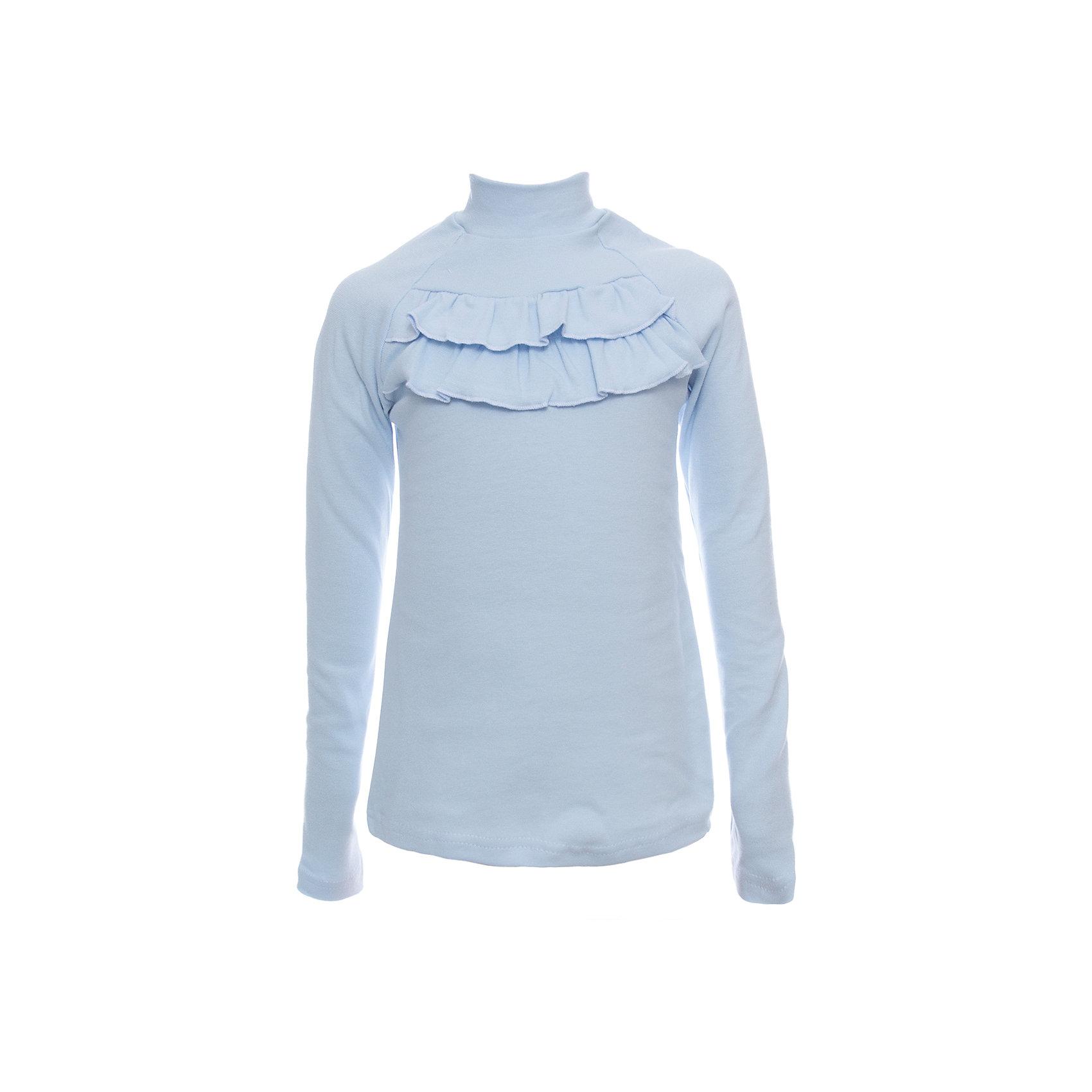 Водолазка Nota Bene для девочкиБлузки и рубашки<br>Водолазка для девочки из трикотажного полотна.<br>Декорирована рюшами.<br>Соответствует размеру.<br>Рекомендована предварительная стирка.<br>Состав:<br>95% хлопок; 5% лайкра<br><br>Ширина мм: 230<br>Глубина мм: 40<br>Высота мм: 220<br>Вес г: 250<br>Цвет: голубой<br>Возраст от месяцев: 108<br>Возраст до месяцев: 120<br>Пол: Женский<br>Возраст: Детский<br>Размер: 140,122,128,134<br>SKU: 7012009