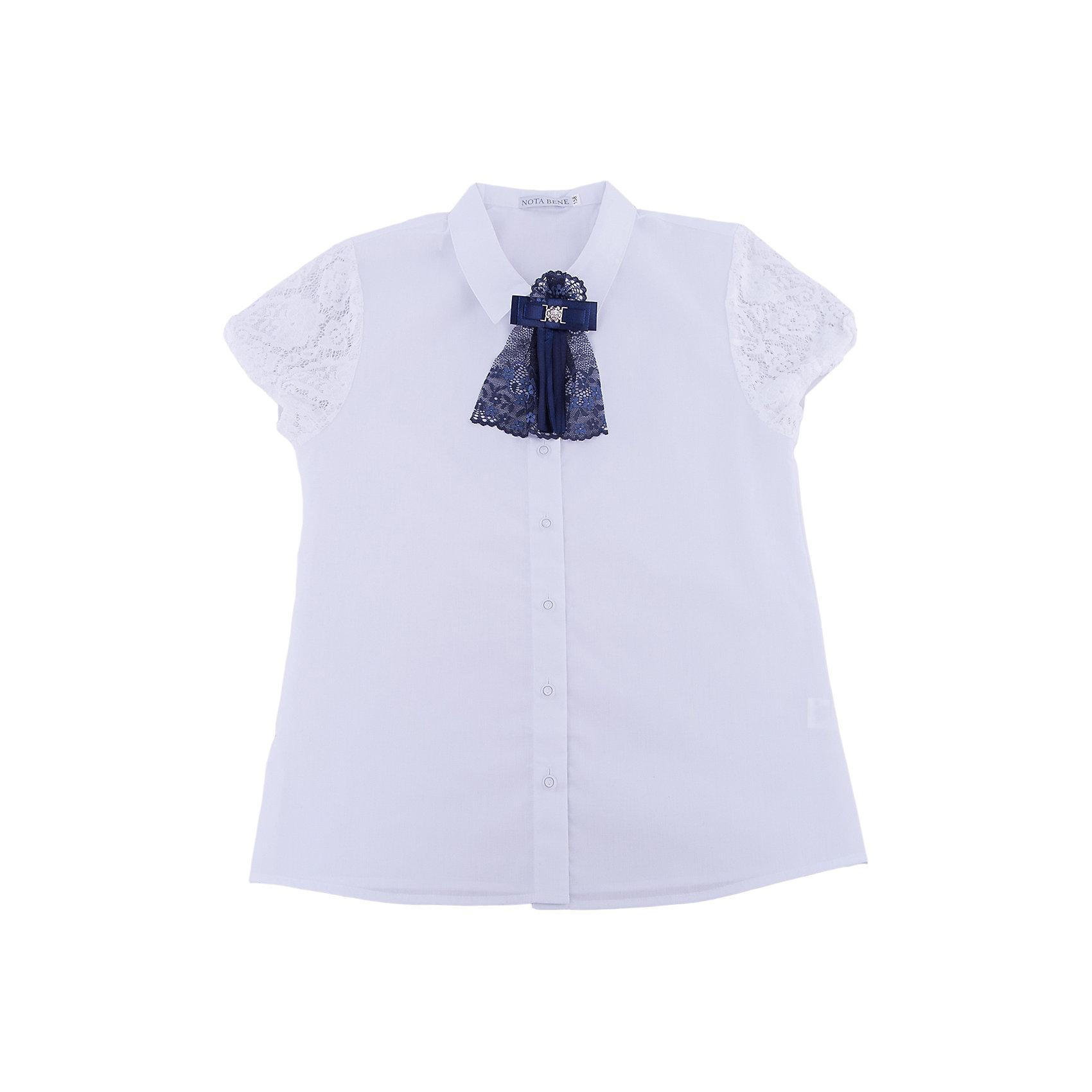 Блузка Nota Bene для девочкиБлузки и рубашки<br>Блузка из текстильного полотна с коротким рукавом. Рукава из кружевного полотна.<br>Отложной воротник. Декор текстильный пристегивающийся на булавку<br>Соответствует размеру.<br>Рекомендована предварительная стирка.<br>Состав:<br>65% хлопок; 35% полиэстер<br><br>Ширина мм: 186<br>Глубина мм: 87<br>Высота мм: 198<br>Вес г: 197<br>Цвет: белый<br>Возраст от месяцев: 84<br>Возраст до месяцев: 96<br>Пол: Женский<br>Возраст: Детский<br>Размер: 128,164,122,134,140,146,152,158<br>SKU: 7012221