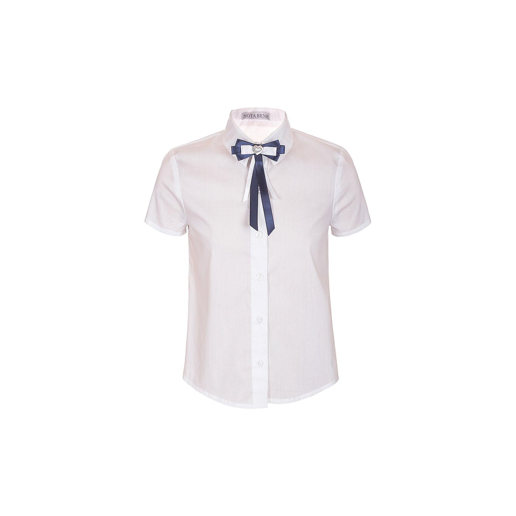 Блузка Nota Bene для девочкиБлузки и рубашки<br>Характеристики товара:<br><br>• цвет: белый<br>• состав: 60% хлопок, 37% полиэстер, 3% лайкра<br>• сезон: демисезон<br>• особенности модели: школьная<br>• застежка: пуговицы<br>• короткие рукава<br>• декор: бант на булавке<br>• страна бренда: Россия<br>• страна производства: Россия<br><br>Белая детская блузка с коротким рукавом выполнена в классической расцветке, декорирована бантом на булавке. Легкая блузка для ребенка соответствует школьному дресс-коду. Школьная блузка комфортно сидит на теле благодаря преобладанию в составе материала натурального хлопка. <br><br>Блузку Nota Bene (Нота Бене) для девочки можно купить в нашем интернет-магазине.<br><br>Ширина мм: 186<br>Глубина мм: 87<br>Высота мм: 198<br>Вес г: 197<br>Цвет: белый<br>Возраст от месяцев: 72<br>Возраст до месяцев: 84<br>Пол: Женский<br>Возраст: Детский<br>Размер: 122,164,128,134,140,146,152,158<br>SKU: 7012231
