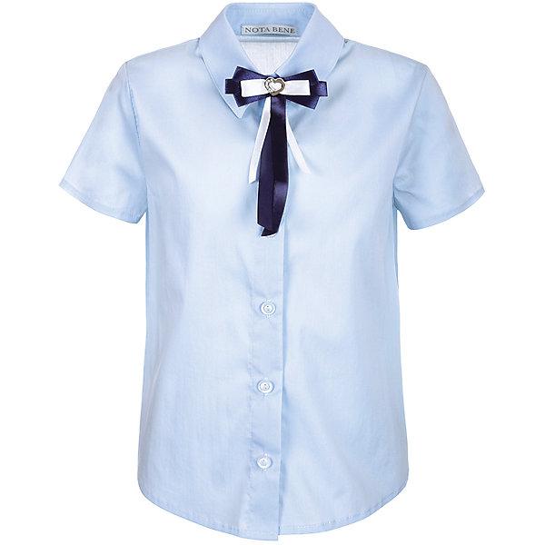 Блузка Nota Bene для девочкиБлузки и рубашки<br>Характеристики товара:<br><br>• цвет: голубой<br>• состав: 60% хлопок, 37% полиэстер, 3% лайкра<br>• сезон: демисезон<br>• особенности модели: школьная<br>• застежка: пуговицы<br>• короткие рукава<br>• декор: бант на булавке<br>• страна бренда: Россия<br>• страна производства: Россия<br><br>Голубая детская блузка с коротким рукавом декорирована пристегивающимся бантом. Легкая блузка для ребенка соответствует школьному дресс-коду. Школьная блузка комфортно сидит на теле благодаря преобладанию в составе материала натурального хлопка. <br><br>Блузку Nota Bene (Нота Бене) для девочки можно купить в нашем интернет-магазине.<br>Ширина мм: 186; Глубина мм: 87; Высота мм: 198; Вес г: 197; Цвет: голубой; Возраст от месяцев: 72; Возраст до месяцев: 84; Пол: Женский; Возраст: Детский; Размер: 122,140,128; SKU: 7012236;