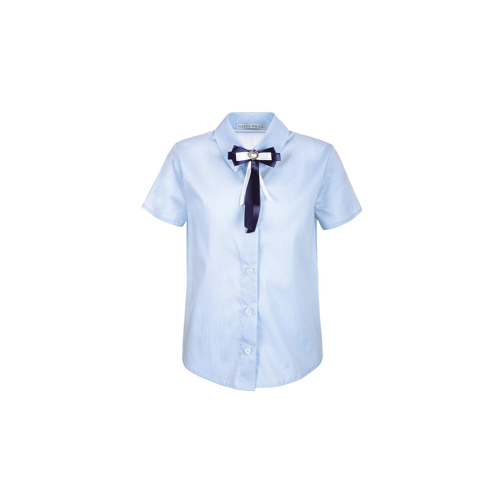 Блузка Nota Bene для девочкиБлузки и рубашки<br>Характеристики товара:<br><br>• цвет: голубой<br>• состав: 60% хлопок, 37% полиэстер, 3% лайкра<br>• сезон: демисезон<br>• особенности модели: школьная<br>• застежка: пуговицы<br>• короткие рукава<br>• декор: бант на булавке<br>• страна бренда: Россия<br>• страна производства: Россия<br><br>Голубая детская блузка с коротким рукавом декорирована пристегивающимся бантом. Легкая блузка для ребенка соответствует школьному дресс-коду. Школьная блузка комфортно сидит на теле благодаря преобладанию в составе материала натурального хлопка. <br><br>Блузку Nota Bene (Нота Бене) для девочки можно купить в нашем интернет-магазине.<br><br>Ширина мм: 186<br>Глубина мм: 87<br>Высота мм: 198<br>Вес г: 197<br>Цвет: голубой<br>Возраст от месяцев: 72<br>Возраст до месяцев: 84<br>Пол: Женский<br>Возраст: Детский<br>Размер: 122,128,140<br>SKU: 7012236