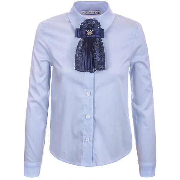 Блузка Nota Bene для девочкиБлузки и рубашки<br>Характеристики товара:<br><br>• цвет: голубой<br>• состав: 65% хлопок, 35% полиэстер<br>• сезон: демисезон<br>• особенности модели: школьная<br>• застежка: пуговицы<br>• длинные рукава<br>• декор: бант на булавке<br>• страна бренда: Россия<br>• страна производства: Россия<br><br>Детская блузка с длинным рукавом выполнена в классической расцветке, декорирована бантом на булавке. Легкая блузка для ребенка соответствует школьному дресс-коду. Школьная блузка комфортно сидит на теле благодаря преобладанию в составе материала натурального хлопка. <br><br>Блузку Nota Bene (Нота Бене) для девочки можно купить в нашем интернет-магазине.<br><br>Ширина мм: 186<br>Глубина мм: 87<br>Высота мм: 198<br>Вес г: 197<br>Цвет: голубой<br>Возраст от месяцев: 108<br>Возраст до месяцев: 120<br>Пол: Женский<br>Возраст: Детский<br>Размер: 140,128,122<br>SKU: 7012250