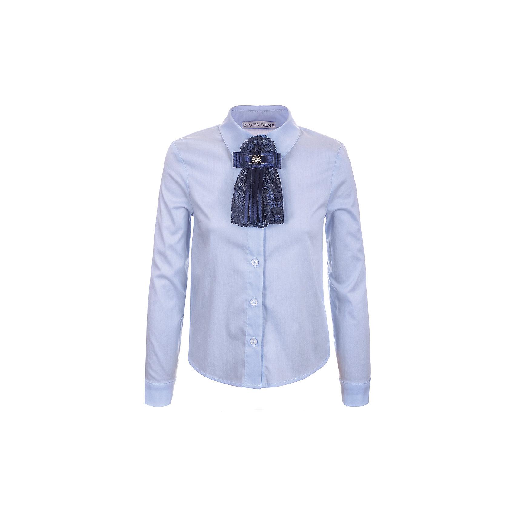 Блузка Nota Bene для девочкиБлузки и рубашки<br>Блузка с длинными рукавами. С рубашечным воротником со стойкой<br>и с цельнокроенной застежкой на пуговицы.<br>Декор текстильный пристегивающийся на булавку<br>Соответствует размеру.<br>Рекомендована предварительная стирка.<br>Состав:<br>65% хлопок; 35% полиэстер<br><br>Ширина мм: 186<br>Глубина мм: 87<br>Высота мм: 198<br>Вес г: 197<br>Цвет: голубой<br>Возраст от месяцев: 108<br>Возраст до месяцев: 120<br>Пол: Женский<br>Возраст: Детский<br>Размер: 140,122,128<br>SKU: 7012250