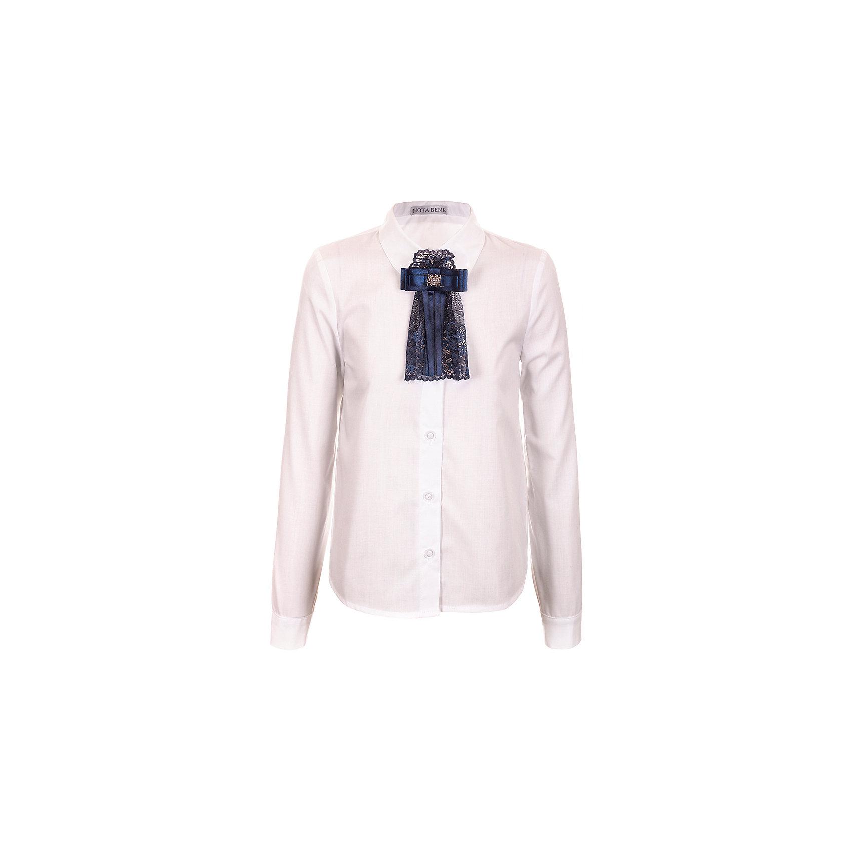 Блузка Nota Bene для девочкиБлузки и рубашки<br>Блузка с длинными рукавами. С рубашечным воротником со стойкой<br>и с цельнокроенной застежкой на пуговицы.<br>Декор текстильный пристегивающийся на булавку<br>Соответствует размеру.<br>Рекомендована предварительная стирка.<br>Состав:<br>65% хлопок; 35% полиэстер<br><br>Ширина мм: 186<br>Глубина мм: 87<br>Высота мм: 198<br>Вес г: 197<br>Цвет: белый<br>Возраст от месяцев: 120<br>Возраст до месяцев: 132<br>Пол: Женский<br>Возраст: Детский<br>Размер: 146,164,158,152<br>SKU: 7012254