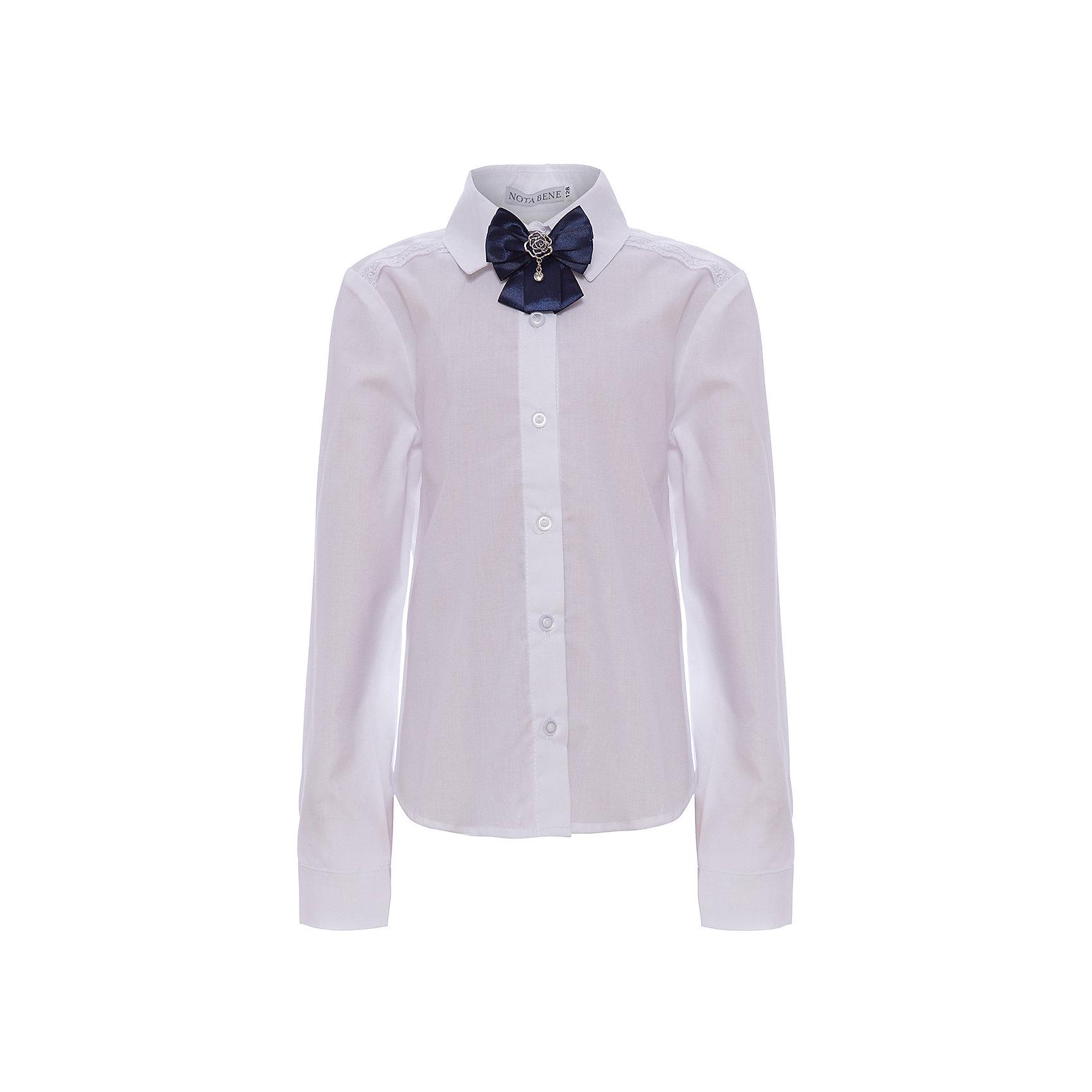 Блузка Nota Bene для девочкиБлузки и рубашки<br>Блузка с длинными рукавами. С рубашечным воротником со стойкой<br>и с цельнокроенной застежкой на пуговицы. <br>На полочке кокетка с кружевной тесьмой белого цвета.<br>Декор текстильный пристегивающийся на булавку<br>Соответствует размеру.<br>Рекомендована предварительная стирка.<br>Состав:<br>65% хлопок; 35% полиэстер<br><br>Ширина мм: 186<br>Глубина мм: 87<br>Высота мм: 198<br>Вес г: 197<br>Цвет: белый<br>Возраст от месяцев: 72<br>Возраст до месяцев: 84<br>Пол: Женский<br>Возраст: Детский<br>Размер: 122,164,128,134,140,146,152,158<br>SKU: 7012259