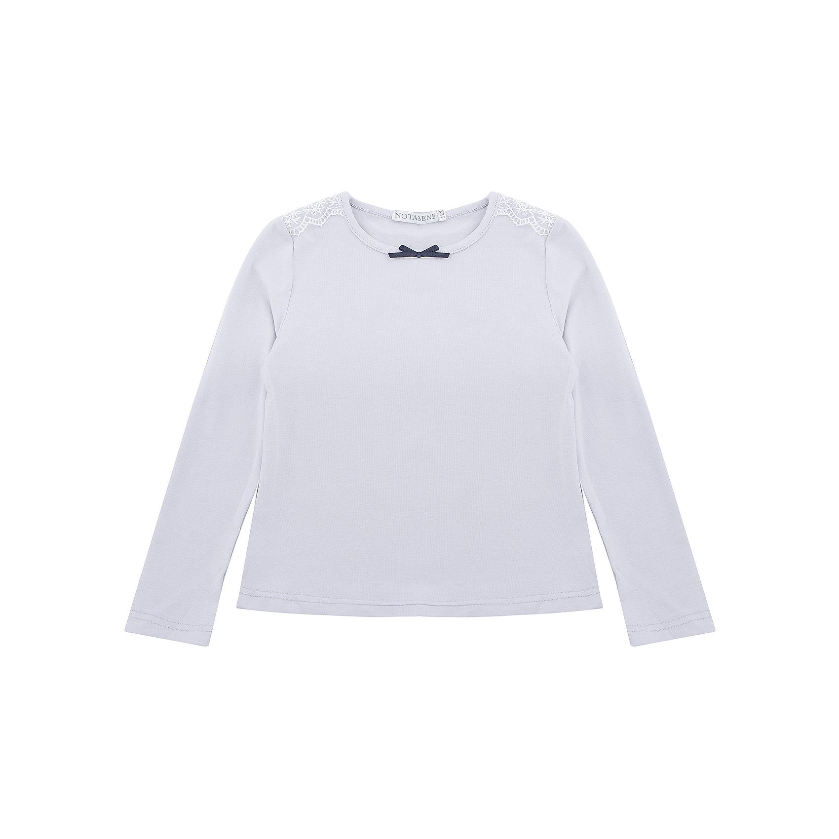 Блузка Nota Bene для девочкиБлузки и рубашки<br>Блузка с  длинными рукавами с кружевной отделкой<br>Соответствует размеру<br>Рекомендована предварительная стирка<br>Состав:<br>92% хлопок; 8% лайкра<br><br>Ширина мм: 186<br>Глубина мм: 87<br>Высота мм: 198<br>Вес г: 197<br>Цвет: серый<br>Возраст от месяцев: 72<br>Возраст до месяцев: 84<br>Пол: Женский<br>Возраст: Детский<br>Размер: 122,158,164,128,134,140,146,152<br>SKU: 7012299