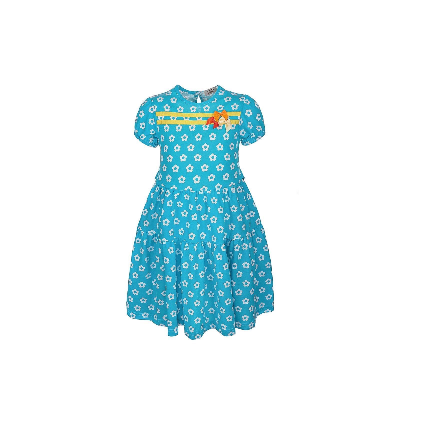 Платье M&amp;D для девочкиПлатья и сарафаны<br>Платье для девочки, с коротким рукавом - фонарик.<br>Юбка с двумя воланами на сборке.<br>На полочке декор - репсовая лента.<br>С притачным поясом по спинке.<br>Соответствует размеру.<br>Рекомендуется предварительная стирка.<br><br><br>Состав:<br>100% хлопок<br><br>Ширина мм: 236<br>Глубина мм: 16<br>Высота мм: 184<br>Вес г: 177<br>Цвет: голубой<br>Возраст от месяцев: 24<br>Возраст до месяцев: 36<br>Пол: Женский<br>Возраст: Детский<br>Размер: 98,104,110,116,122,128<br>SKU: 7012462