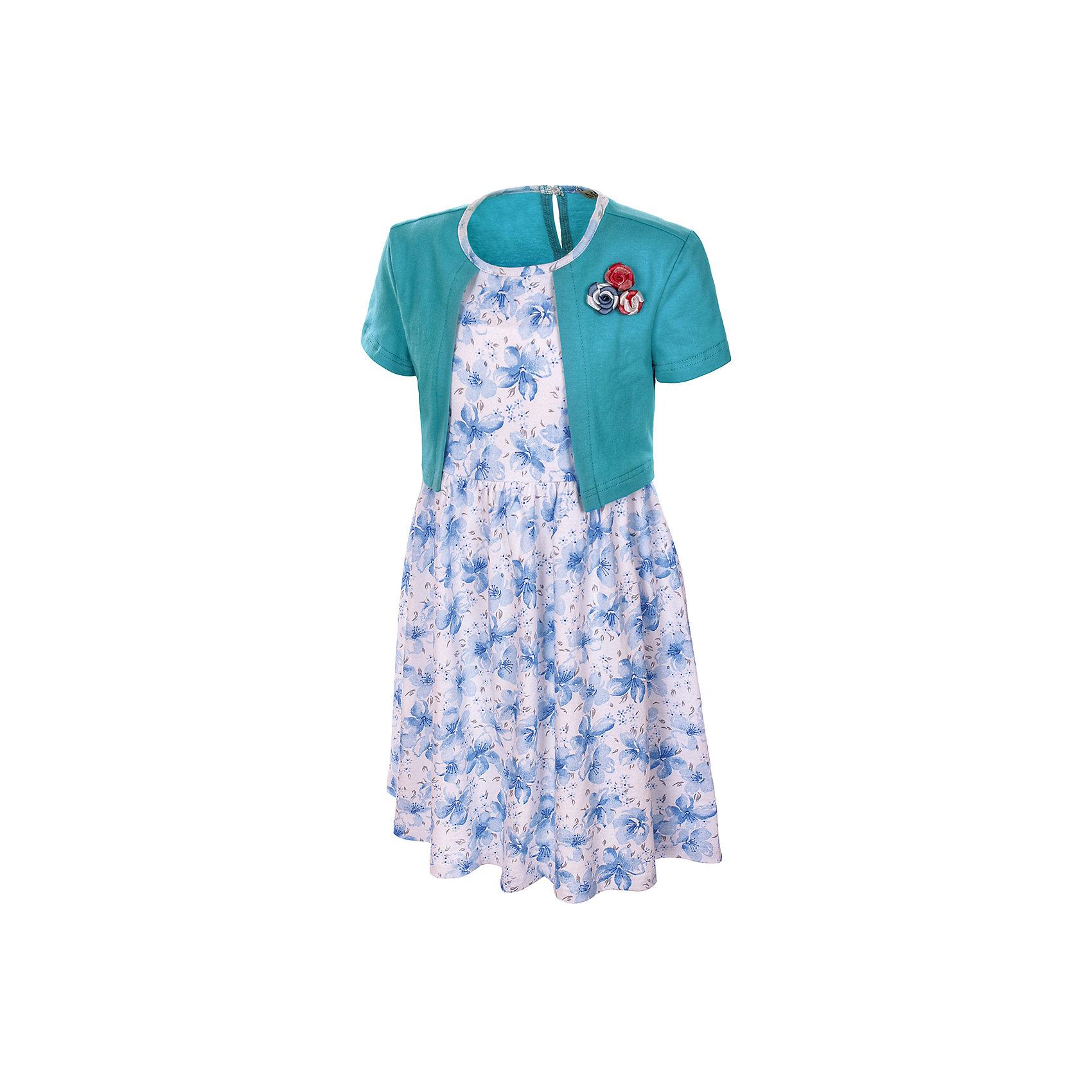 Платье M&amp;D для девочкиПлатья и сарафаны<br>Платье для девочки с болеро, декорированное цветами.<br>Короткий рукав,застежка на пуговицы, сборка по талии.<br>-соответствует размеру.<br>Рекомендуется предварительная стирка.<br><br><br>Состав:<br>100% хлопок<br><br>Ширина мм: 236<br>Глубина мм: 16<br>Высота мм: 184<br>Вес г: 177<br>Цвет: голубой<br>Возраст от месяцев: 24<br>Возраст до месяцев: 36<br>Пол: Женский<br>Возраст: Детский<br>Размер: 98,104,110,116,122<br>SKU: 7012469