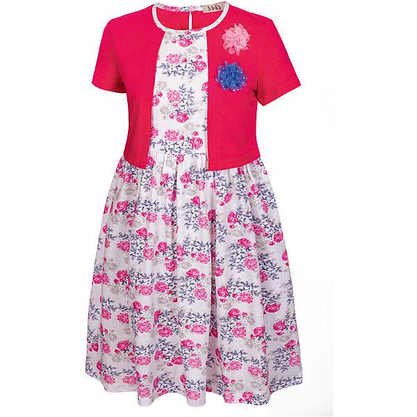 Платье M&amp;D для девочкиПлатья и сарафаны<br>Характеристики товара:<br><br>• цвет: розовый<br>• состав: 100% хлопок<br>• сезон: лето<br>• застежка: пуговица<br>• короткие рукава<br>• декор: принт, текстильные цветы<br>• имитация накидки<br>• страна бренда: Россия<br>• страна производства: Россия<br><br>Хлопковое платье дл девочки декорировано оригинальным принтом и цветами. Платье для девочки легко надевается благодаря пуговице сзади. Детское платье красиво смотрится и комфортно сидит по фигуре. <br><br>Платье M&amp;D для девочки можно купить в нашем интернет-магазине.<br><br>Ширина мм: 236<br>Глубина мм: 16<br>Высота мм: 184<br>Вес г: 177<br>Цвет: фуксия<br>Возраст от месяцев: 24<br>Возраст до месяцев: 36<br>Пол: Женский<br>Возраст: Детский<br>Размер: 98,104,110,116,122,128<br>SKU: 7012501