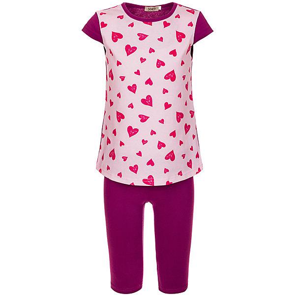 Комплект: футболка и бриджи M&amp;D для девочкиКомплекты<br>Характеристики товара:<br><br>• цвет: розовый<br>• комплектация: футболка и бриджи <br>• состав: 100% хлопок<br>• сезон: лето<br>• короткие рукава<br>• декор: принт<br>• пояс: резинка<br>• страна бренда: Россия<br>• страна производства: Россия<br><br>Этот детский комплект поможет создать ребенку комфорт. Оригинальный комплект для ребенка сделан из натурального дышащего материала. Хлопковый комплект для девочки стильно смотрится благодаря принту. <br><br>Комплект: футболка и бриджи M&amp;D для девочки можно купить в нашем интернет-магазине.<br><br>Ширина мм: 191<br>Глубина мм: 10<br>Высота мм: 175<br>Вес г: 273<br>Цвет: розовый<br>Возраст от месяцев: 36<br>Возраст до месяцев: 48<br>Пол: Женский<br>Возраст: Детский<br>Размер: 104,110<br>SKU: 7012561