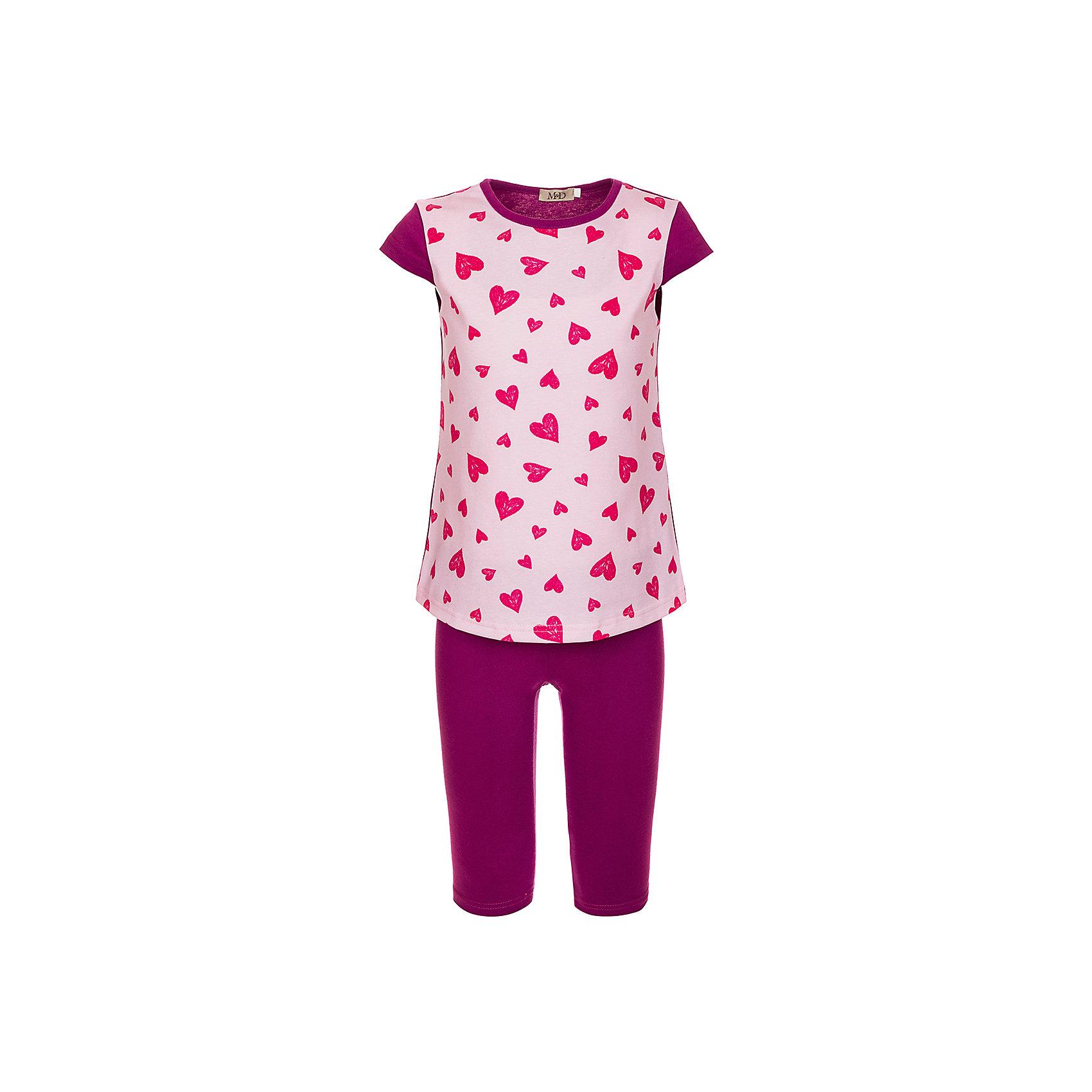 Комплект: футболка и бриджи M&amp;D для девочкиКомплекты<br>Комплект для девочки:футболка и бриджи.Соответствуют размеру.<br>Состав:<br>100% хлопок<br><br>Ширина мм: 191<br>Глубина мм: 10<br>Высота мм: 175<br>Вес г: 273<br>Цвет: розовый<br>Возраст от месяцев: 48<br>Возраст до месяцев: 60<br>Пол: Женский<br>Возраст: Детский<br>Размер: 110,104<br>SKU: 7012561