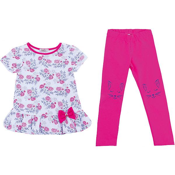 Комплект: туника и леггинсы M&amp;D для девочкиКомплекты<br>Характеристики товара:<br><br>• цвет: розовый<br>• комплектация: туника и леггинсы <br>• состав: 100% хлопок<br>• сезон: лето<br>• короткие рукава<br>• декор: принт, бант<br>• пояс: резинка<br>• страна бренда: Россия<br>• страна производства: Россия<br><br>Трикотажный комплект для девочки декорирован оригинальным принтом. Комплект: туника и леггинсы M&amp;D для девочки легко надевается благодаря эластичному трикотажу. Детский комплект стильно смотрится и комфортно сидит по фигуре. <br><br>Комплект: туника и леггинсы M&amp;D для девочки можно купить в нашем интернет-магазине.<br><br>Ширина мм: 123<br>Глубина мм: 10<br>Высота мм: 149<br>Вес г: 209<br>Цвет: белый<br>Возраст от месяцев: 36<br>Возраст до месяцев: 48<br>Пол: Женский<br>Возраст: Детский<br>Размер: 104,98,110<br>SKU: 7012564